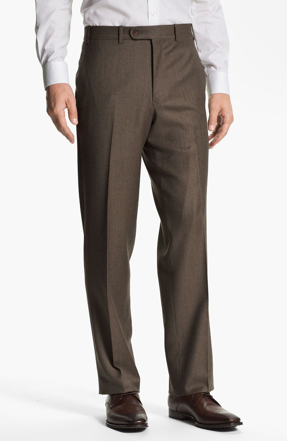 Main Image - JB Britches Flat Front Wool & Cashmere Trousers