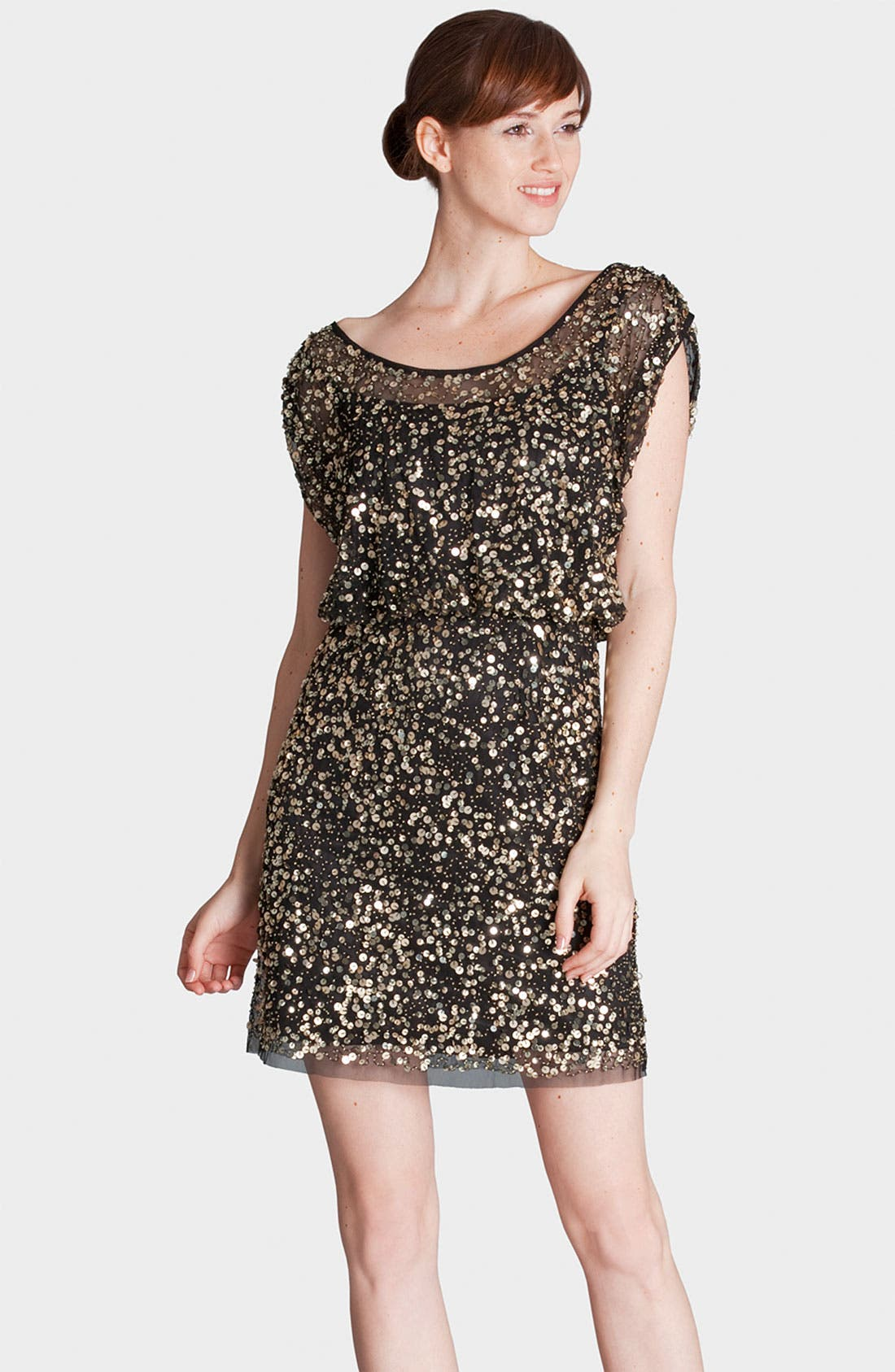 Main Image - JS Collections Scoop Neck Sequin Mesh Blouson Dress