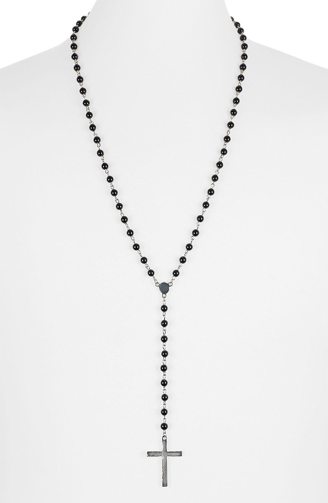 Alternate Image 1 Selected - Topman 'Black Crest' Rosary Pendant Necklace