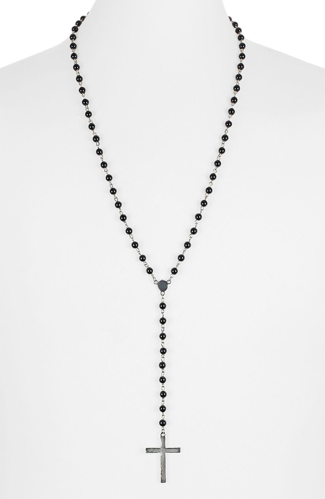 Main Image - Topman 'Black Crest' Rosary Pendant Necklace
