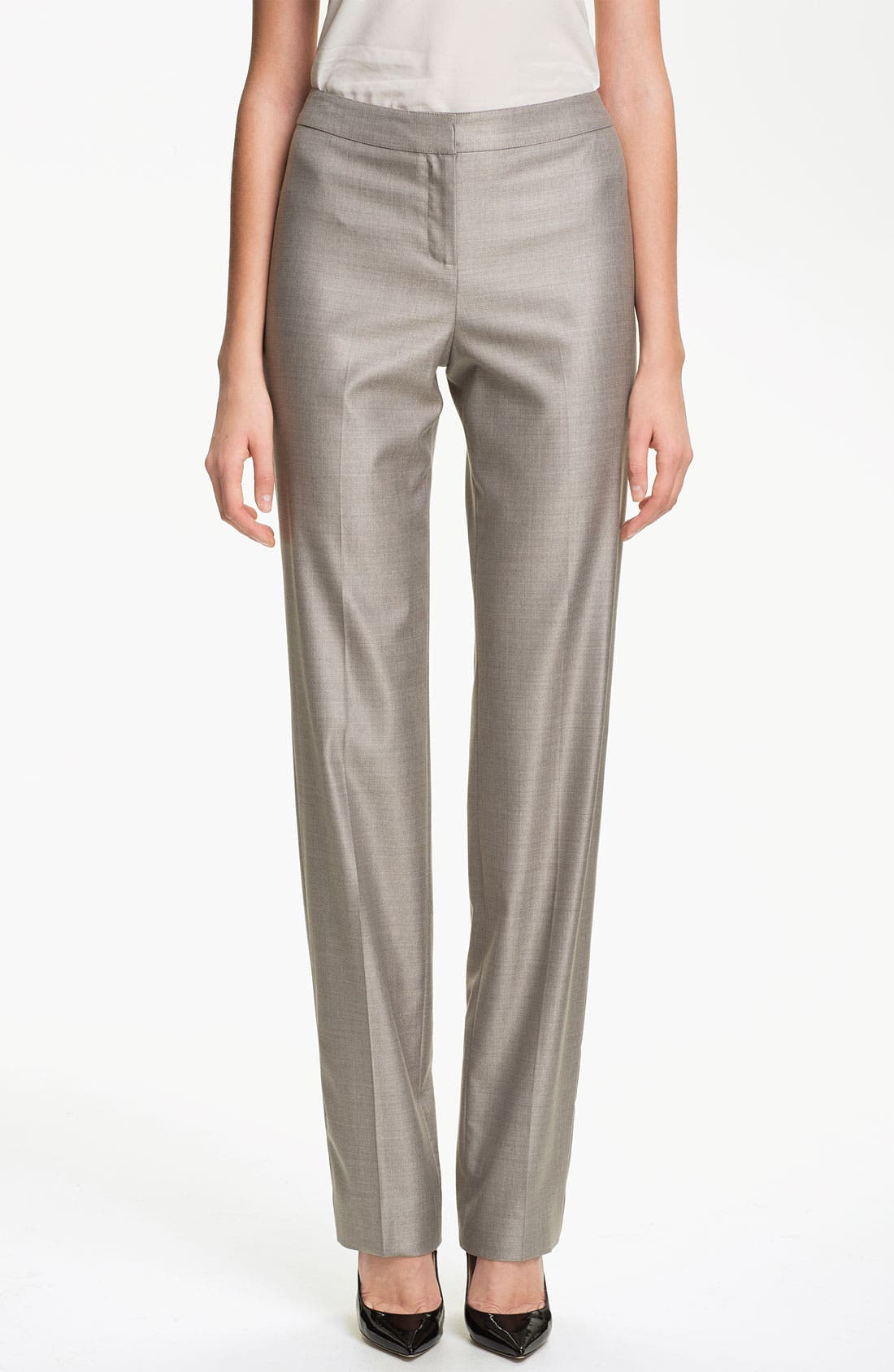 Main Image - St. John Collection 'Diana' Straight Leg Mélange Twill Pants
