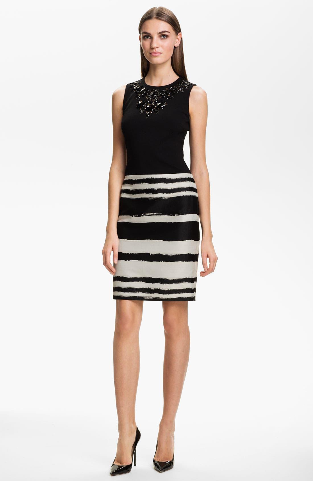 Main Image - St. John Collection Brocade & Milano Knit Beaded Dress