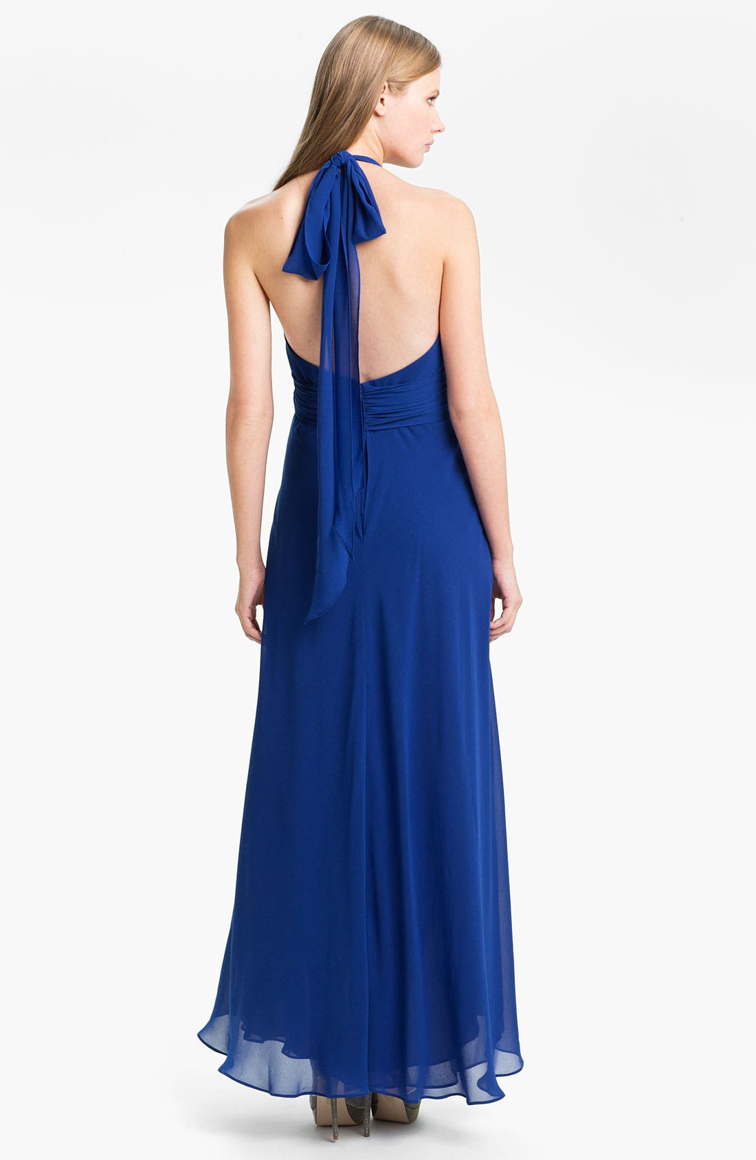 Alternate Image 2  - Donna Ricco Wrap Bodice Chiffon Halter Gown