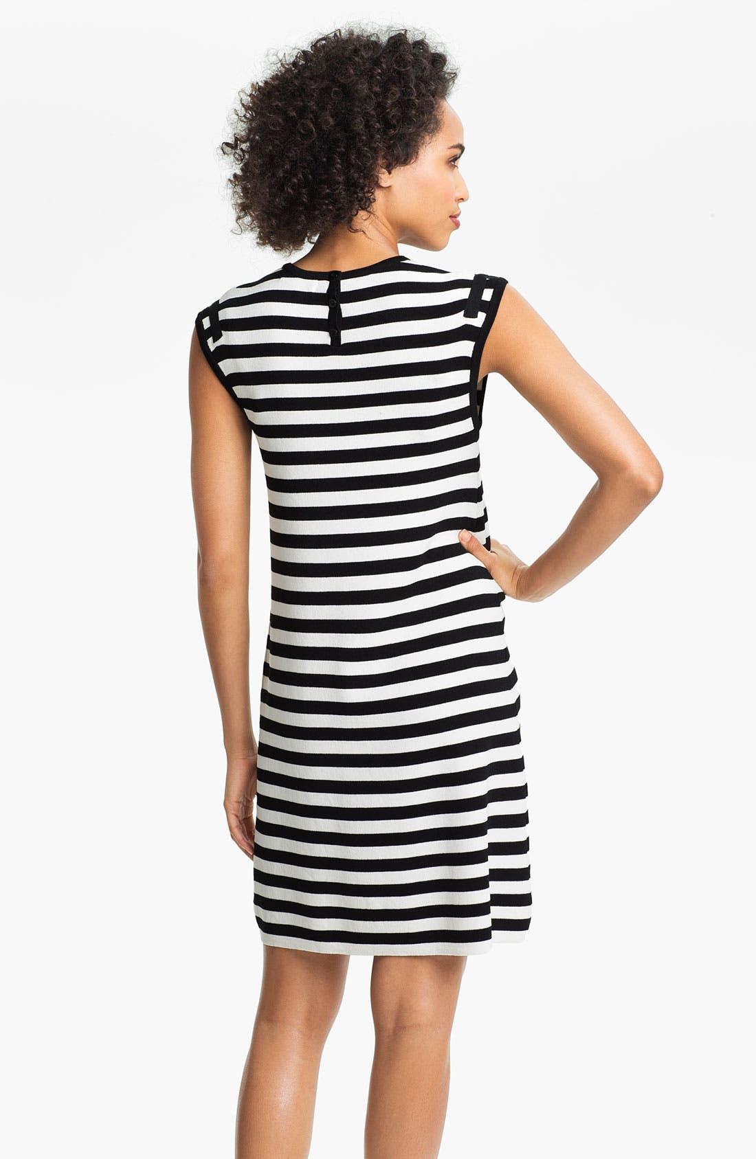 Alternate Image 2  - Calvin Klein Cap Sleeve Stripe Sweater Dress