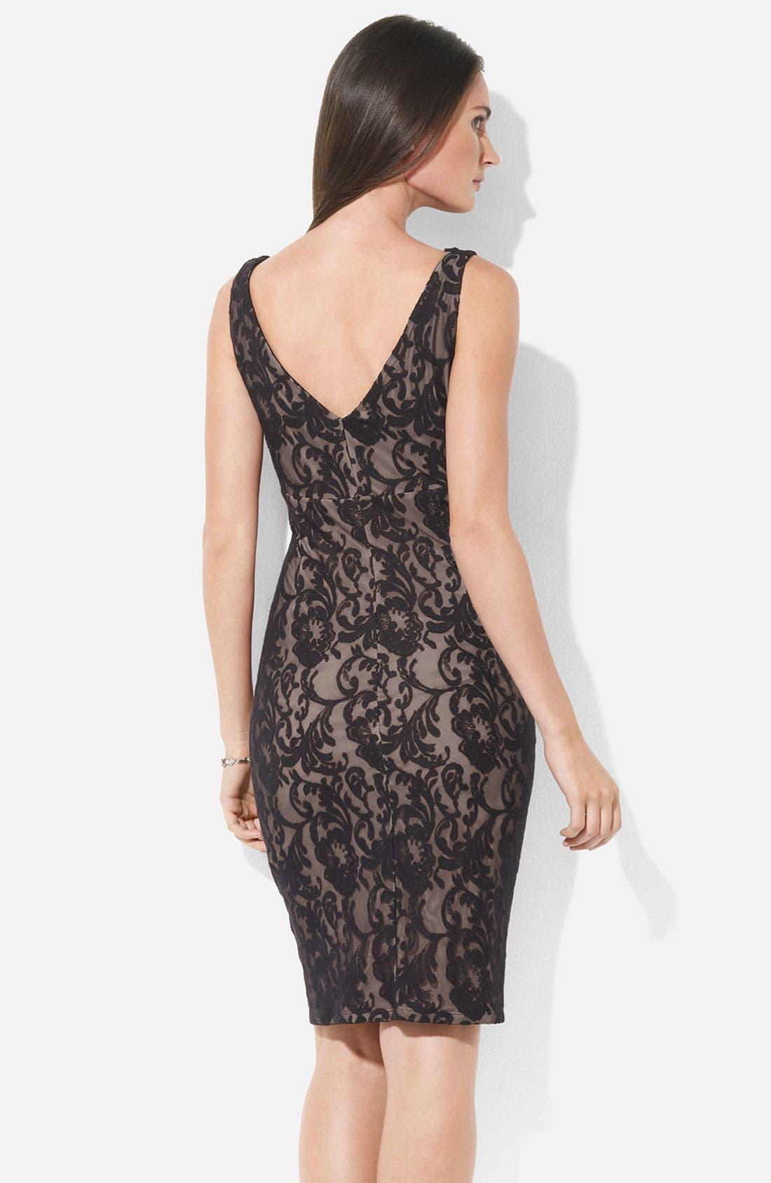 Alternate Image 2  - Lauren Ralph Lauren V-Neck Lace Sheath Dress