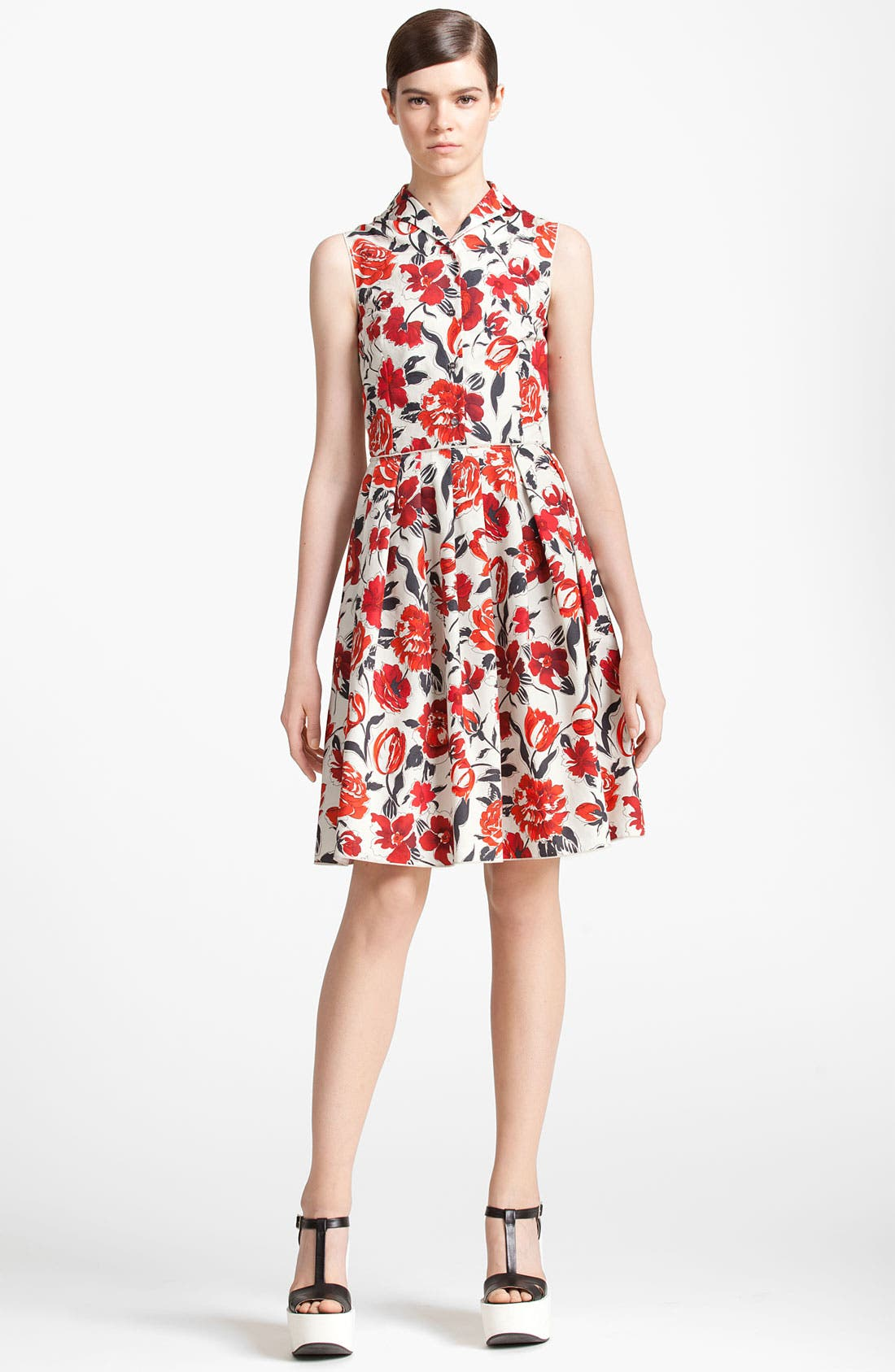 Alternate Image 1 Selected - Jil Sander Navy Garden Print Shirtdress