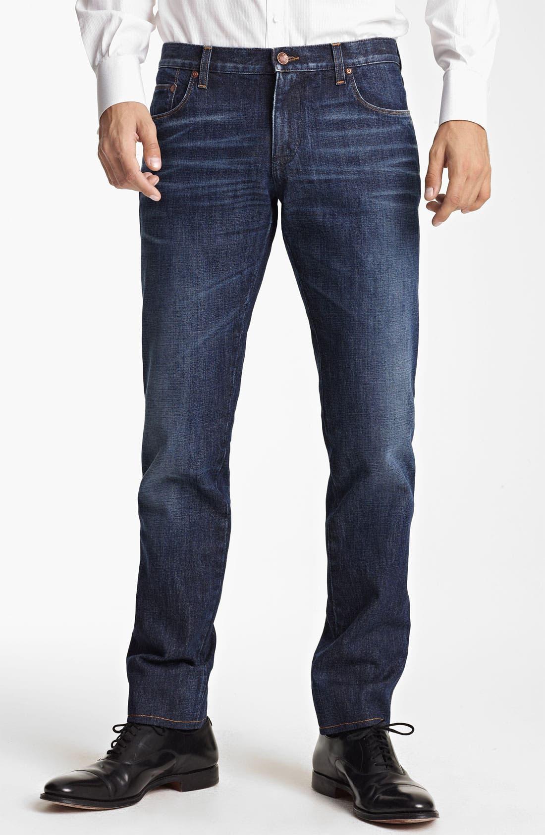 Main Image - Dolce&Gabbana Slim Straight Leg Jeans (Dark Blue)