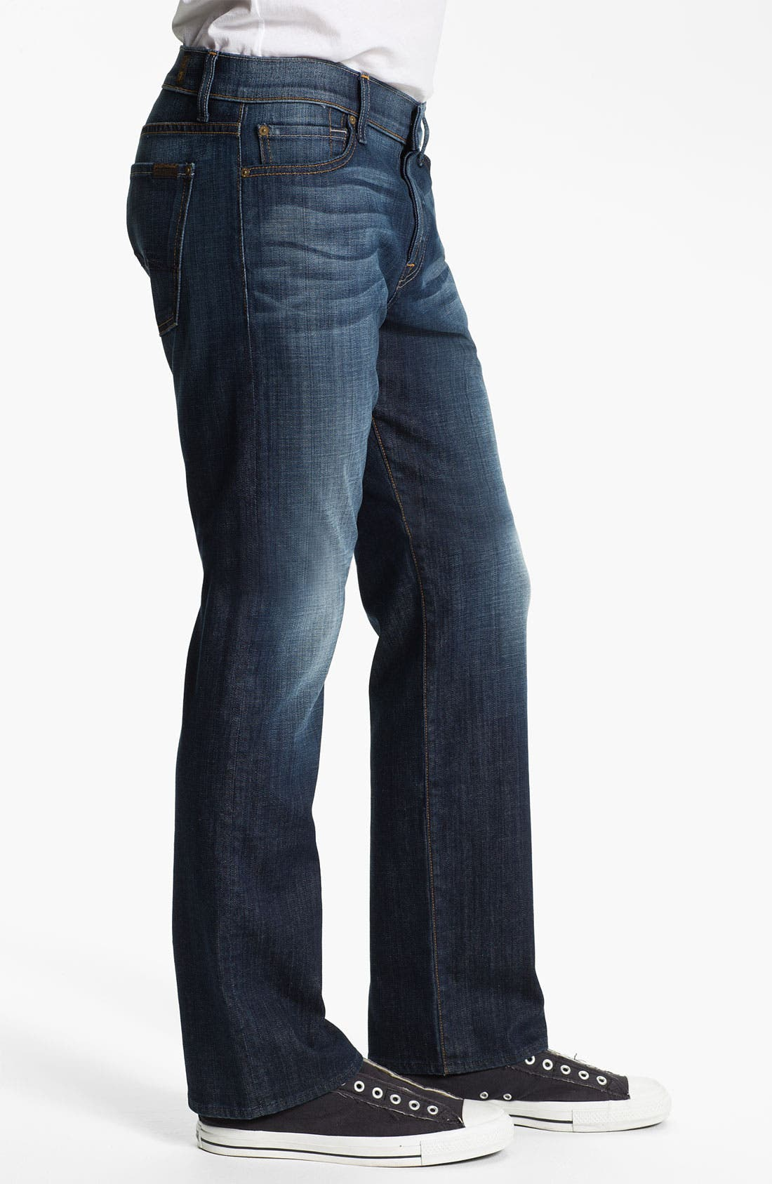 Alternate Image 3  - 7 For All Mankind® 'Standard' Straight Leg Jeans (Worn L.A. Dark)