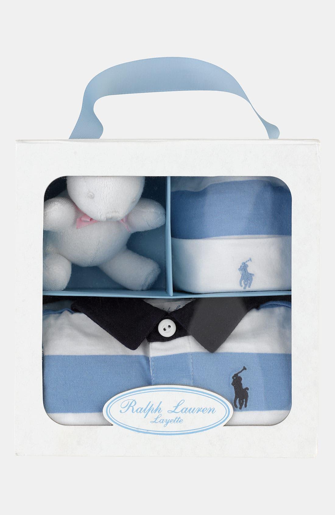 Alternate Image 2  - Ralph Lauren Romper, Hat & Stuffed Animal (Infant)