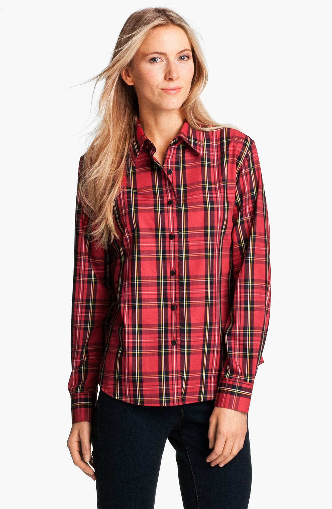 Main Image - Foxcroft 'Classic Tartan' Shirt (Petite)