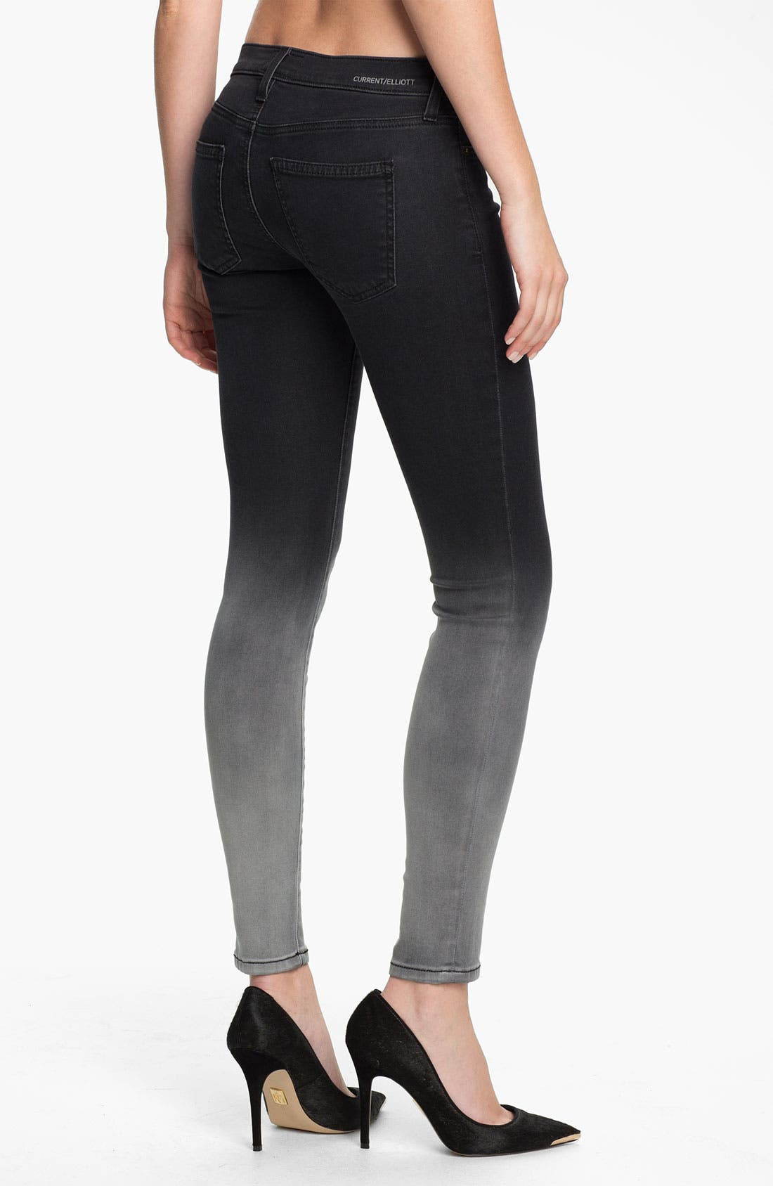 Alternate Image 2  - Current/Elliott 'The Ankle' Print Crop Skinny Jeans (Black Fade)
