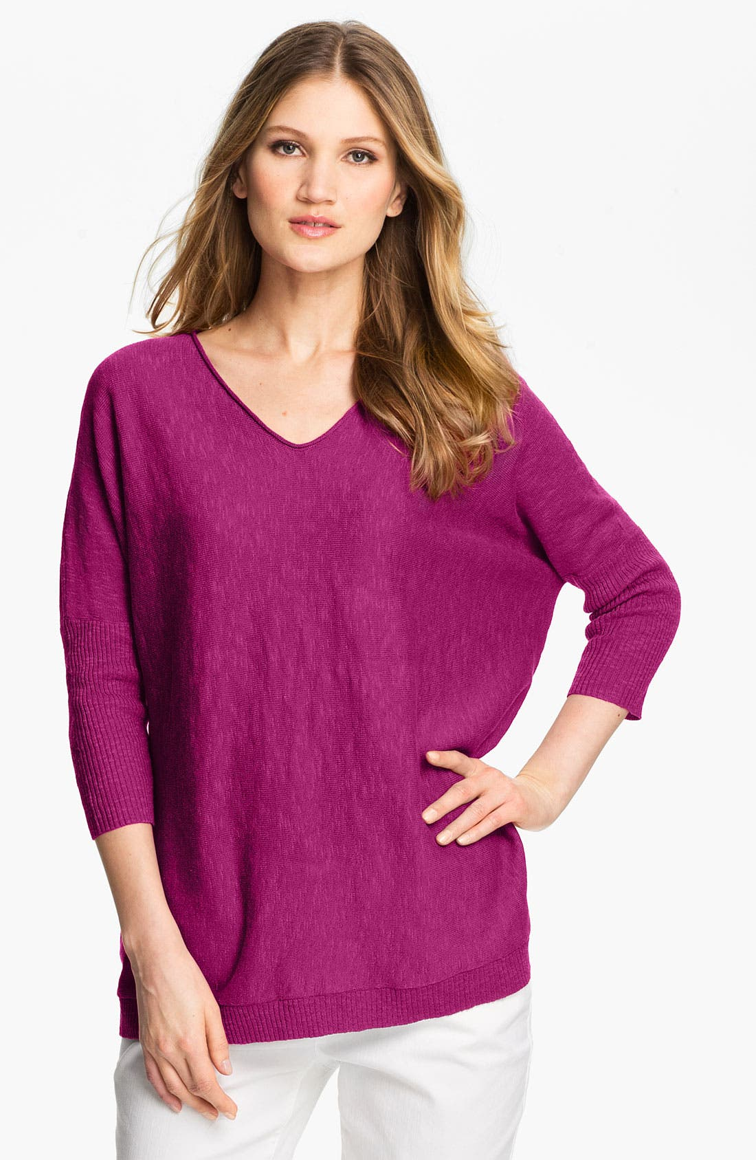 Alternate Image 1 Selected - Eileen Fisher V-Neck Slub Tunic