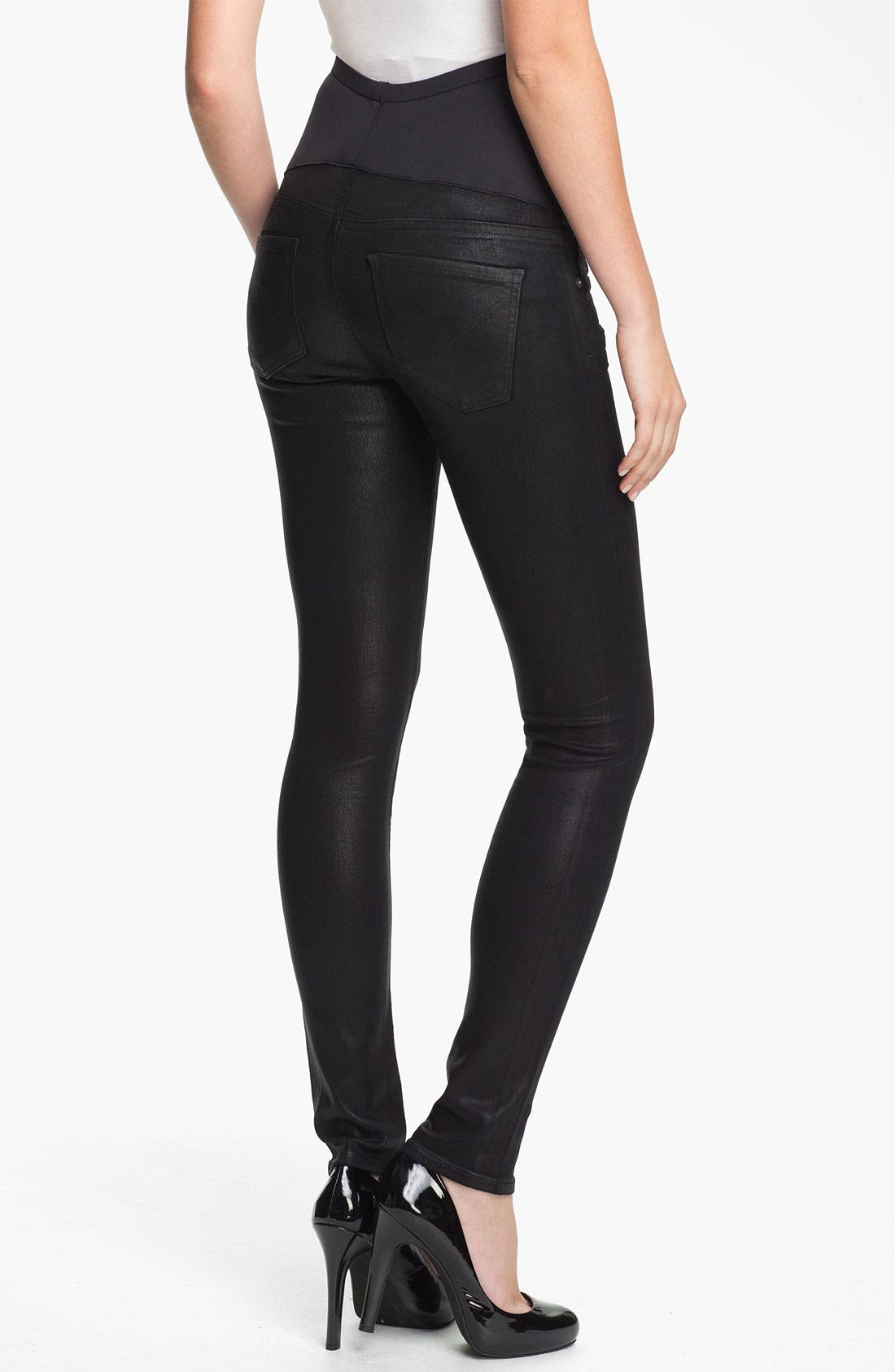 Alternate Image 2  - Citizens of Humanity Coated Skinny Maternity Jeans (Black)