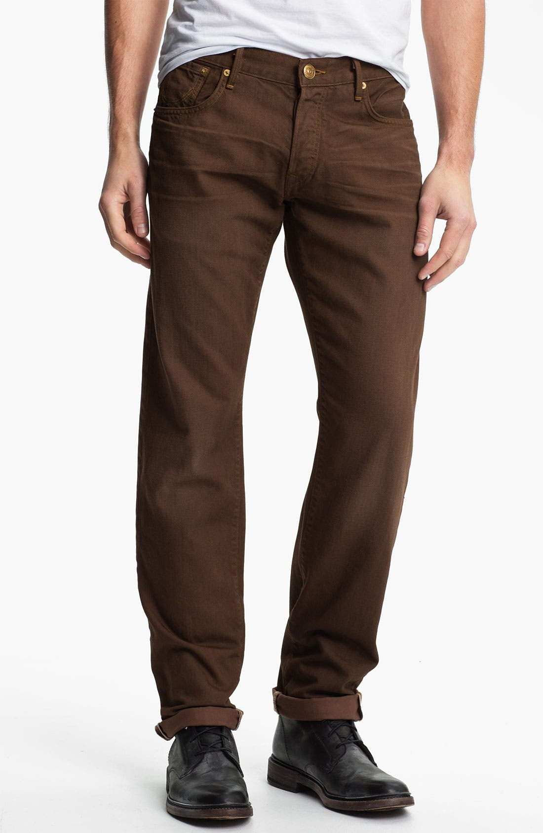 Alternate Image 2  - True Religion Brand Jeans 'Geno Blue Collar Crossroads' Slim Straight Leg Jeans (Kona Brown)