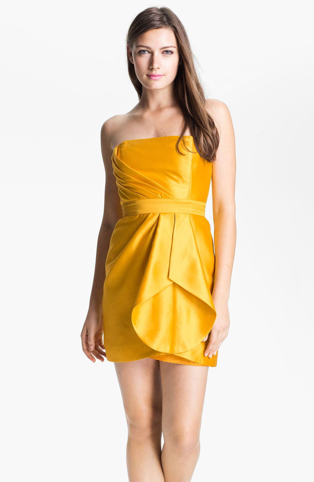 Main Image - Shoshanna Strapless Pleat Detail Silk Sheath Dress