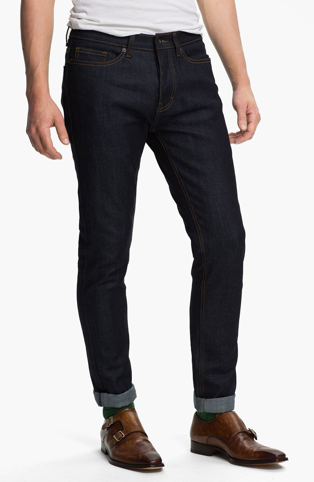 Main Image - Topman Skinny Fit Stretch Jeans (Dark Blue)
