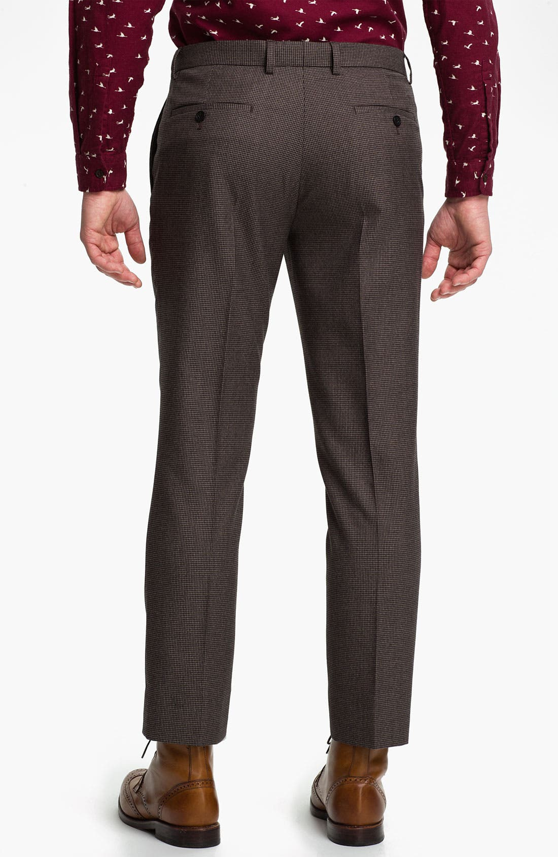 Alternate Image 2  - Topman Skinny Fit Micro Houndstooth Trousers