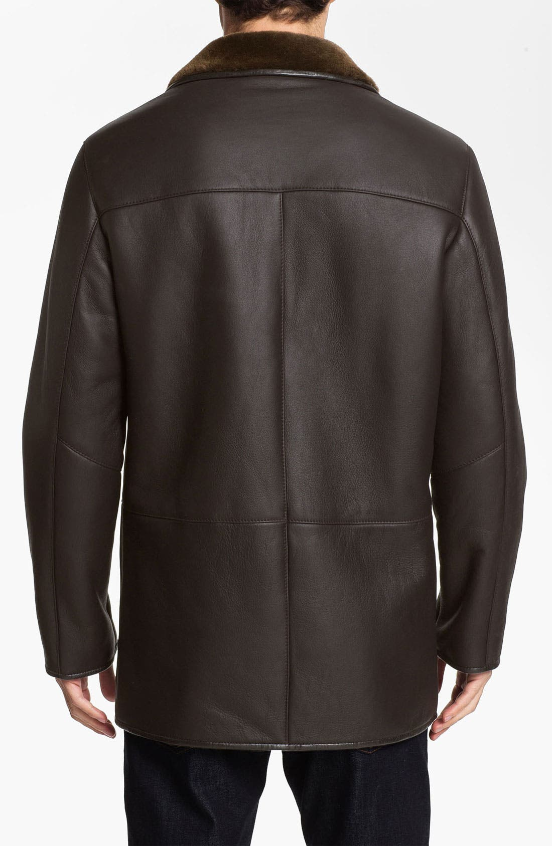 Alternate Image 2  - Robert Talbott Leather Coat with Genuine Shearling Lining