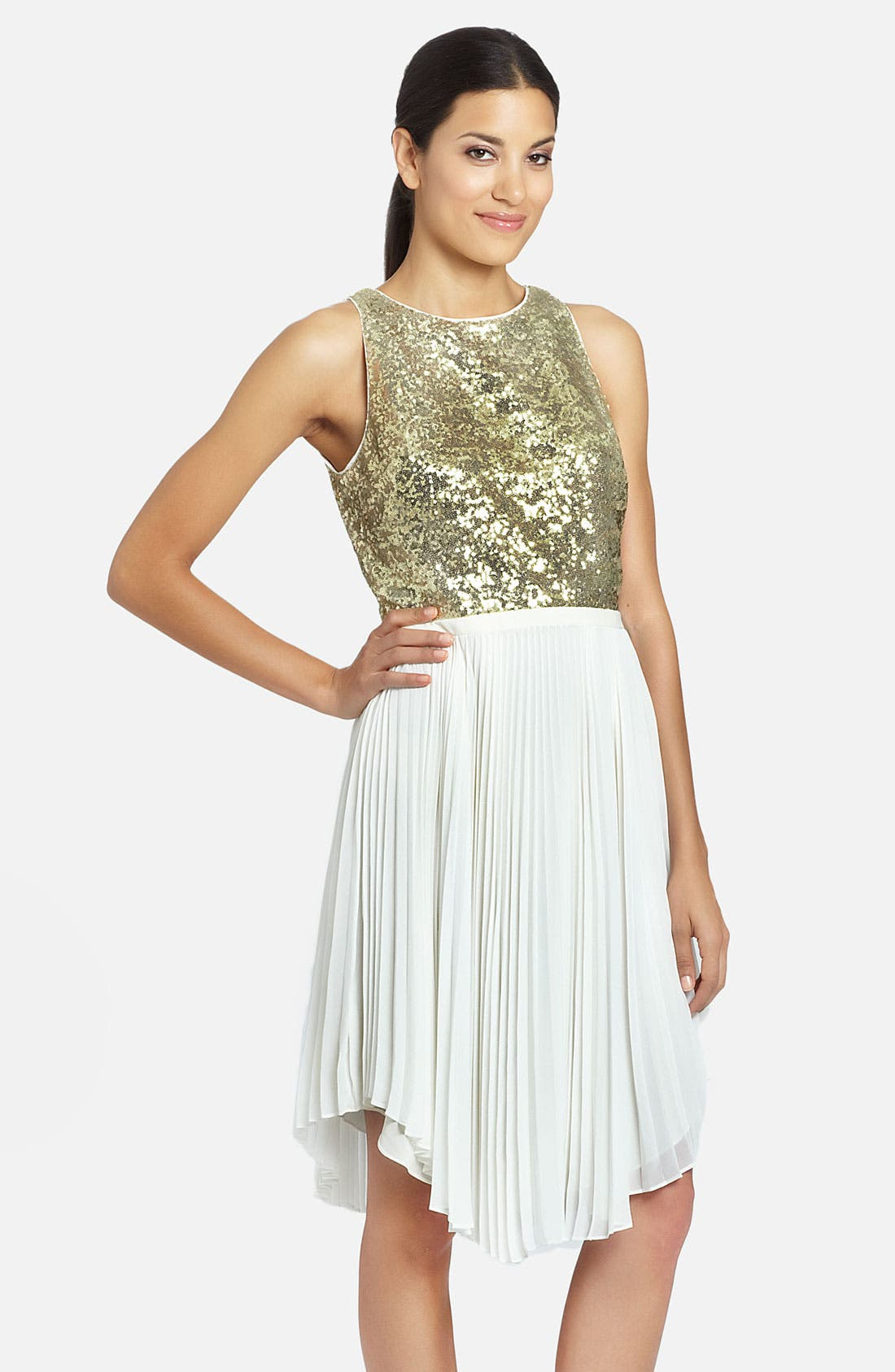 Alternate Image 1 Selected - Cynthia Steffe 'Malena' Sequin Bodice Pleated Handkerchief Dress