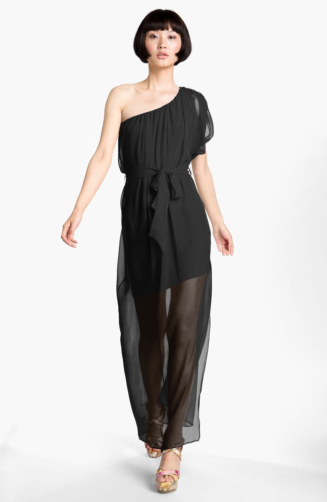 Main Image - Abi Ferrin 'Dolce' Sheer One Shoulder Silk Maxi Dress