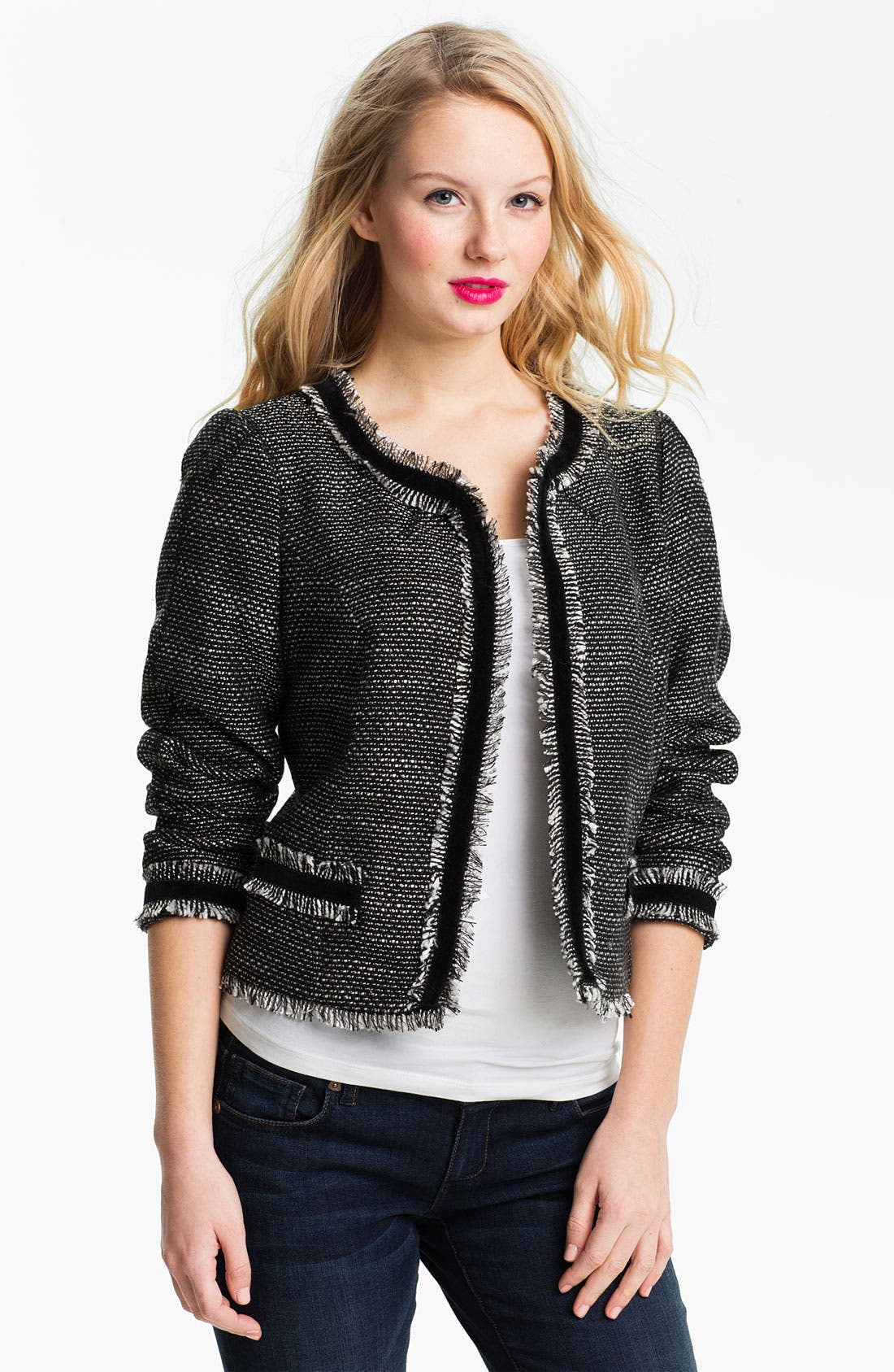 Alternate Image 1 Selected - Max & Mia Open Front Tweed Jacket