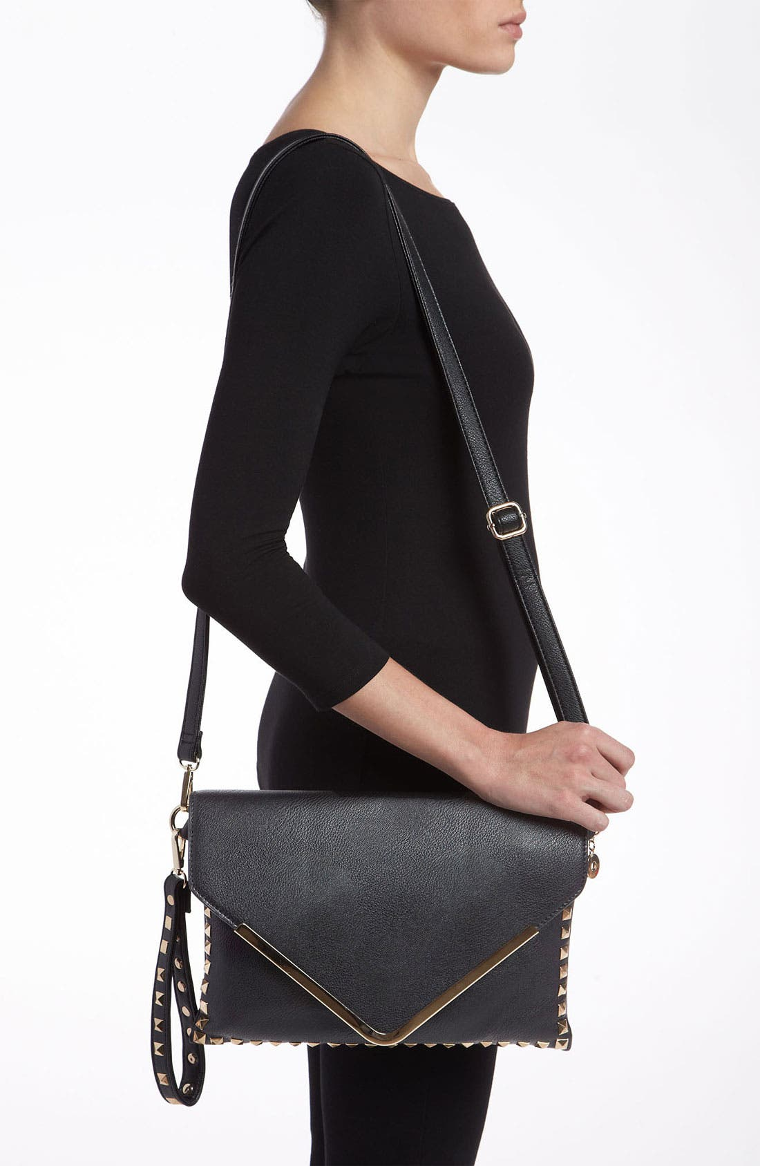 Alternate Image 2  - High Fashion Handbags Studded Envelope Clutch