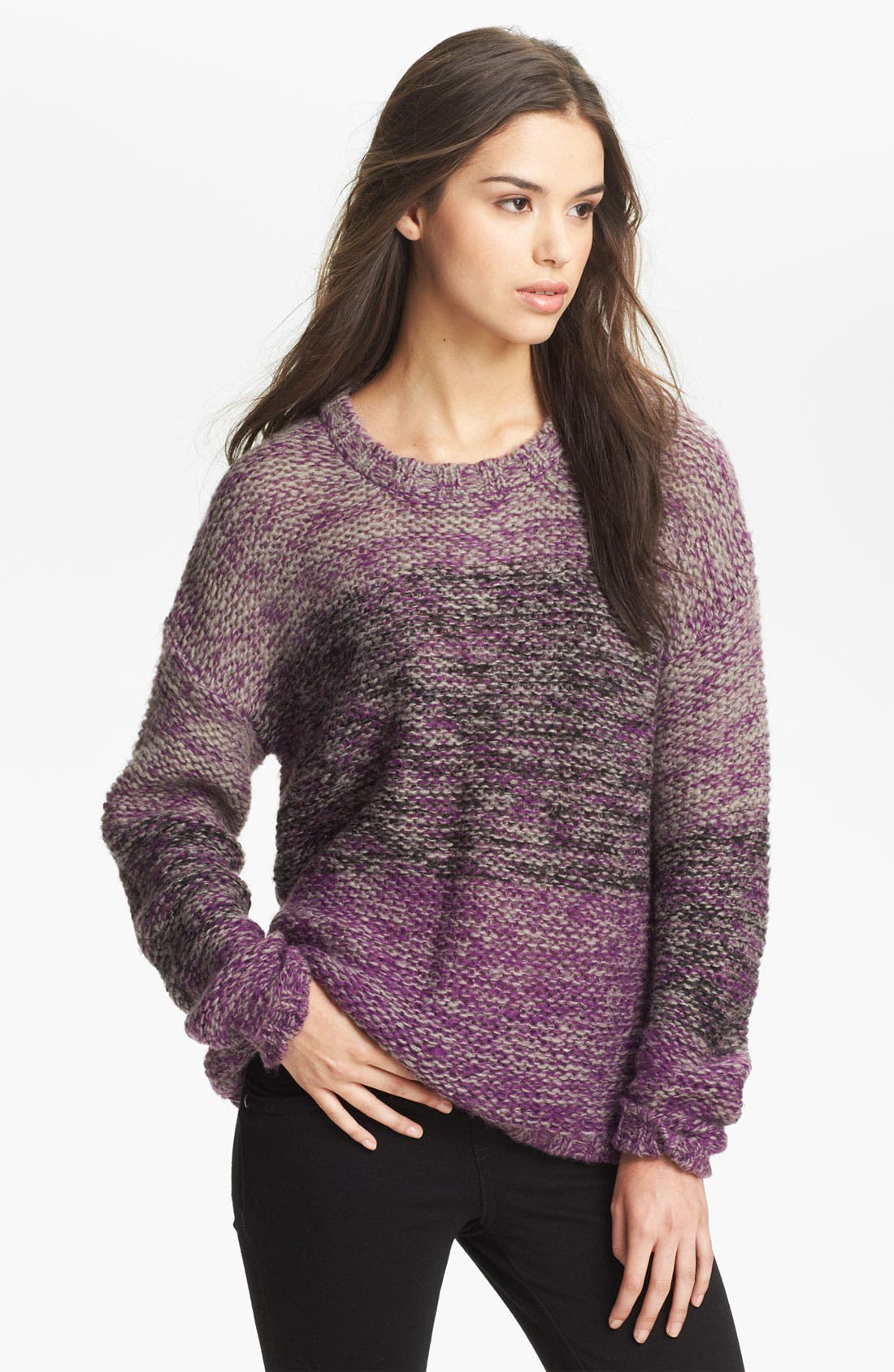 Alternate Image 1 Selected - Twisted Angel Slouchy Mélange Stripe Sweater (Juniors)