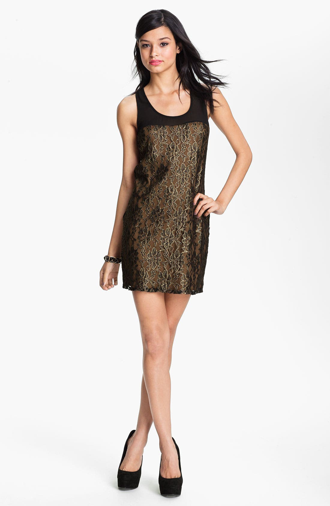Main Image - Lush Lace Shift Dress (Juniors)