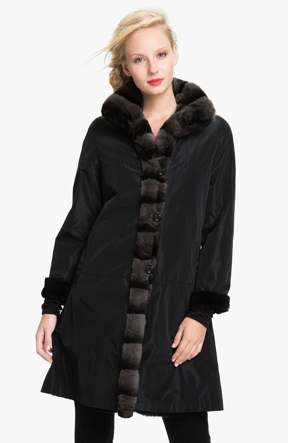 Alternate Image 1 Selected - Blue Duck Genuine Rabbit Fur Reversible Storm Coat