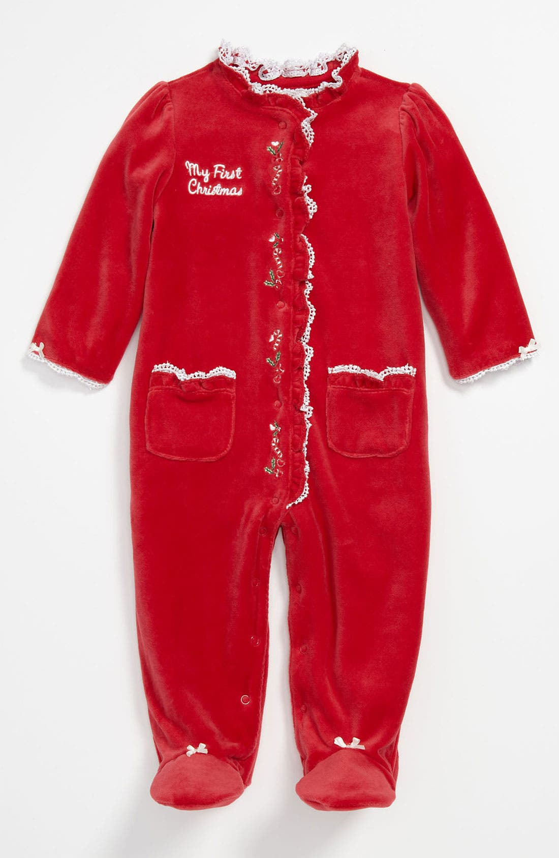 Alternate Image 1 Selected - Little Me 'My First Christmas' Velour Footie (Infant)
