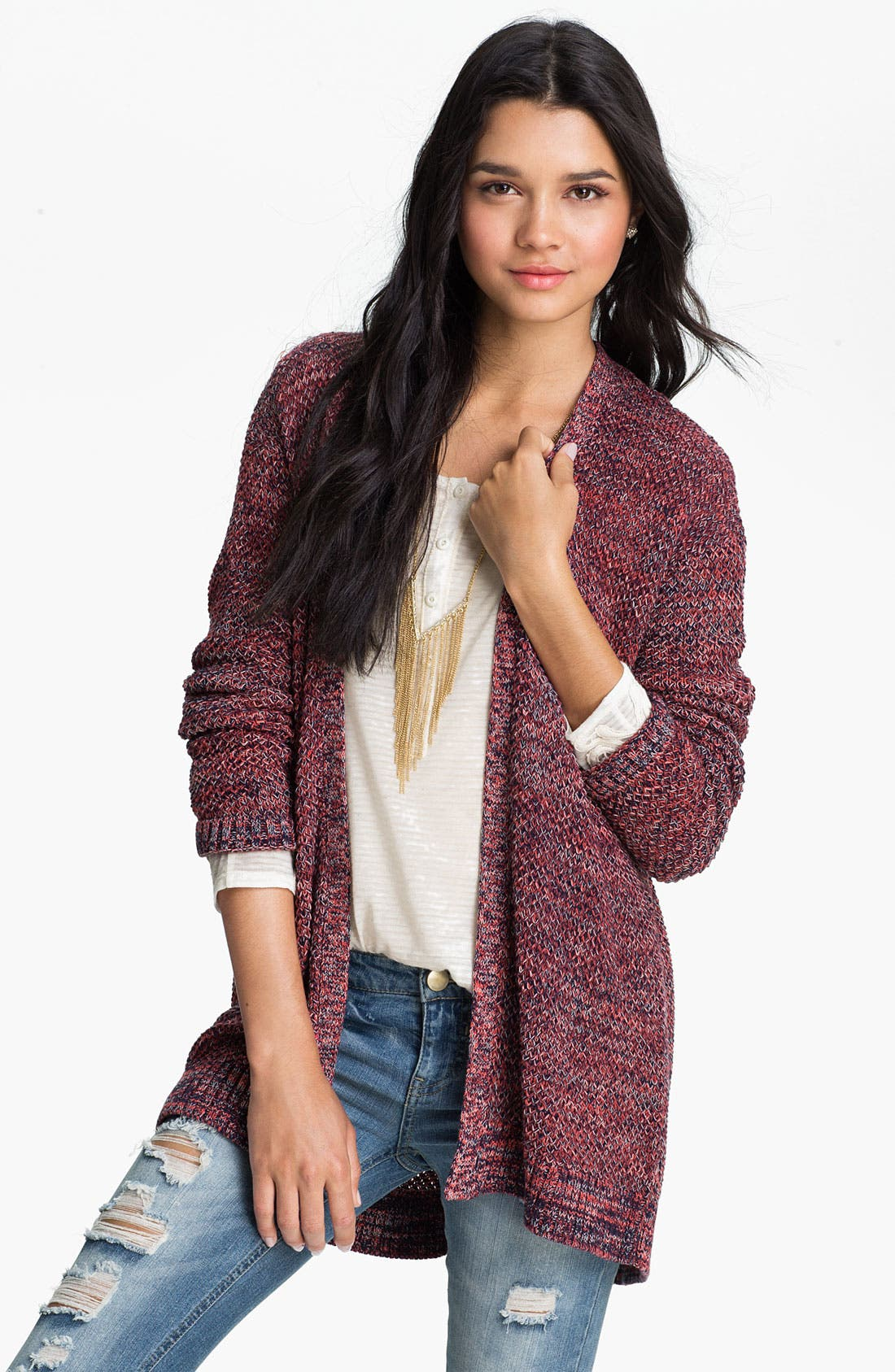 Alternate Image 1 Selected - Rubbish® Textured Mélange Cardigan (Juniors)