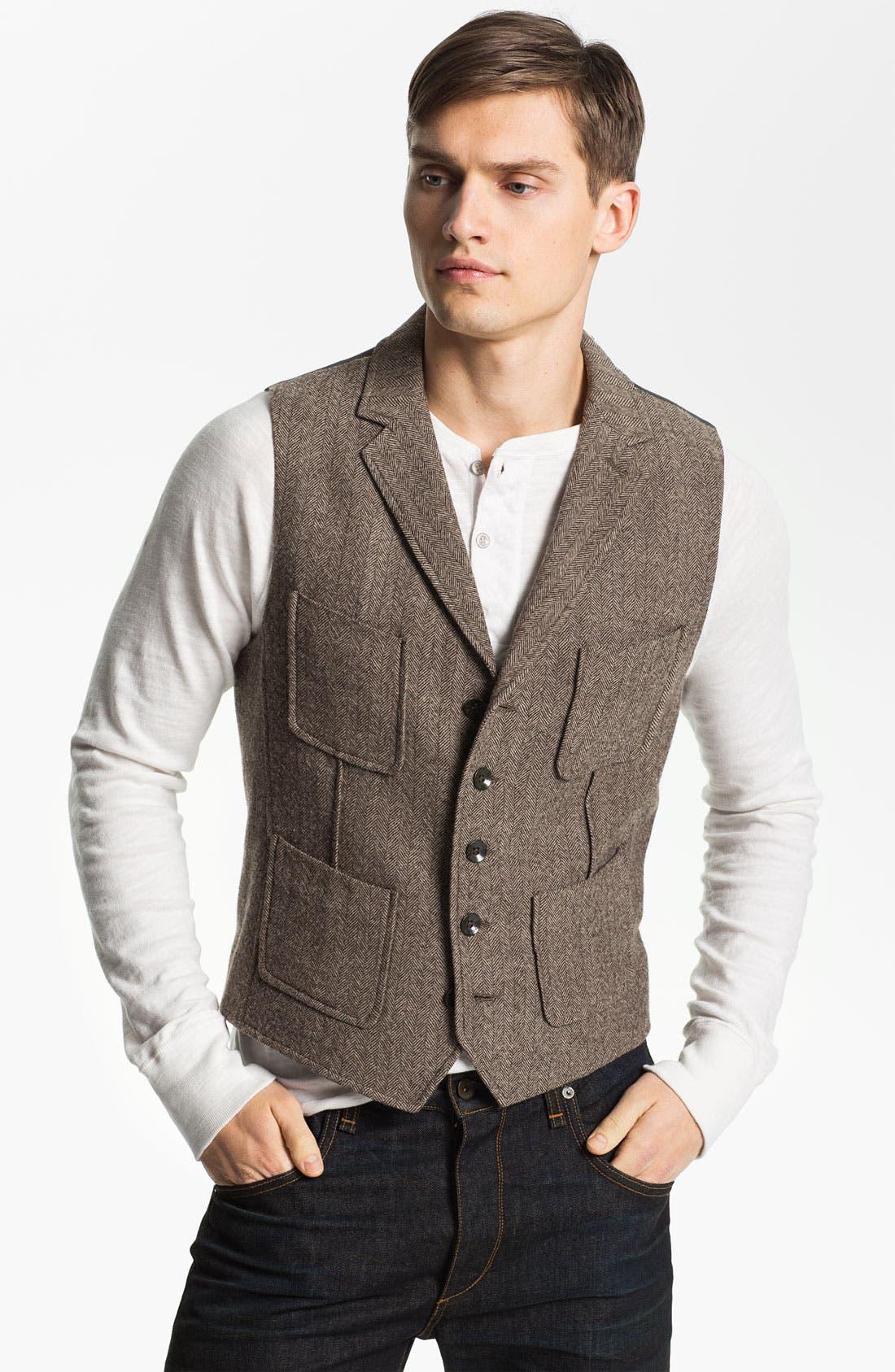 Main Image - rag & bone 'Albers' Wool Herringbone Waistcoat