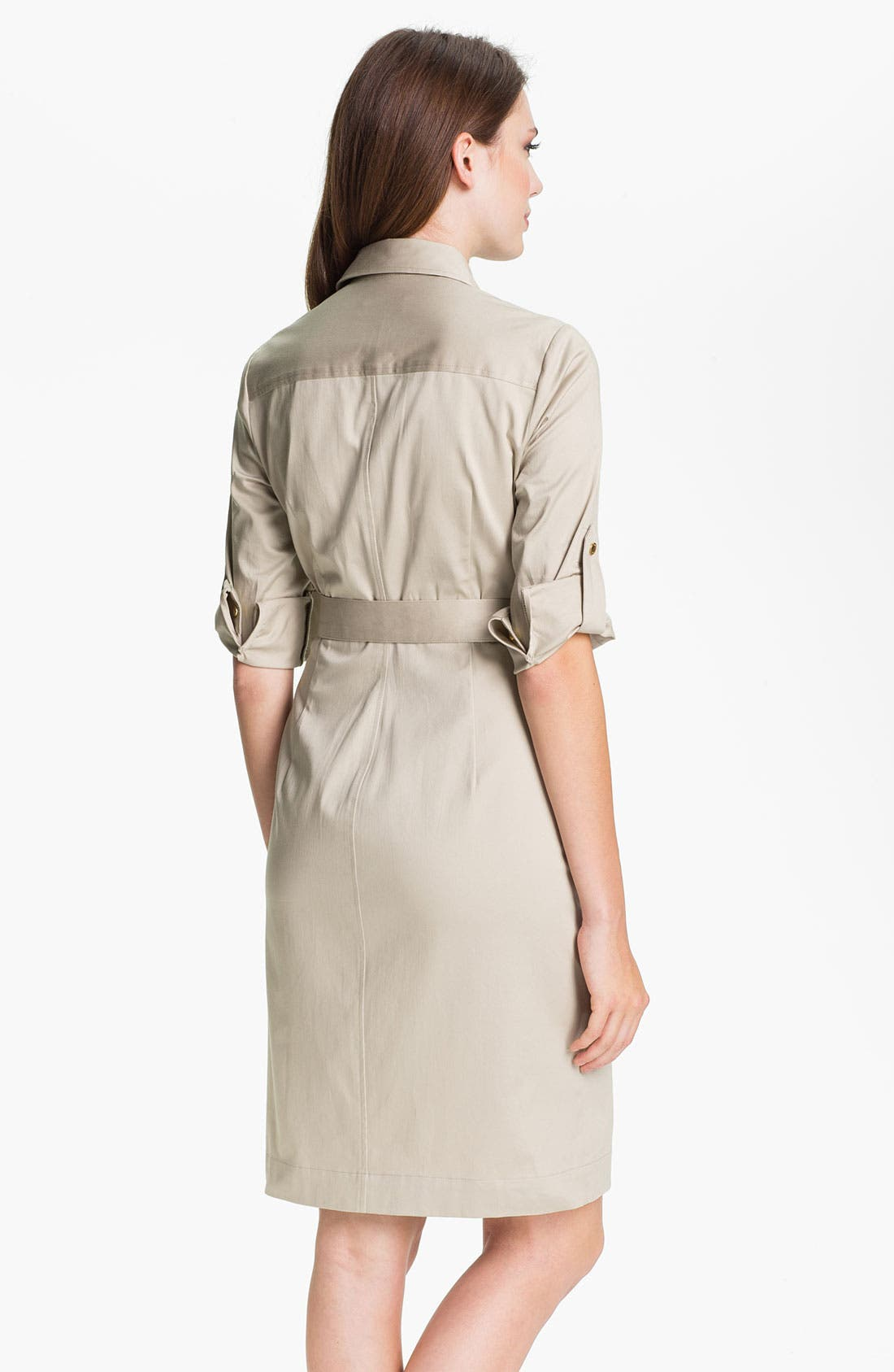 Alternate Image 2  - Calvin Klein Belted Cotton Shirtdress