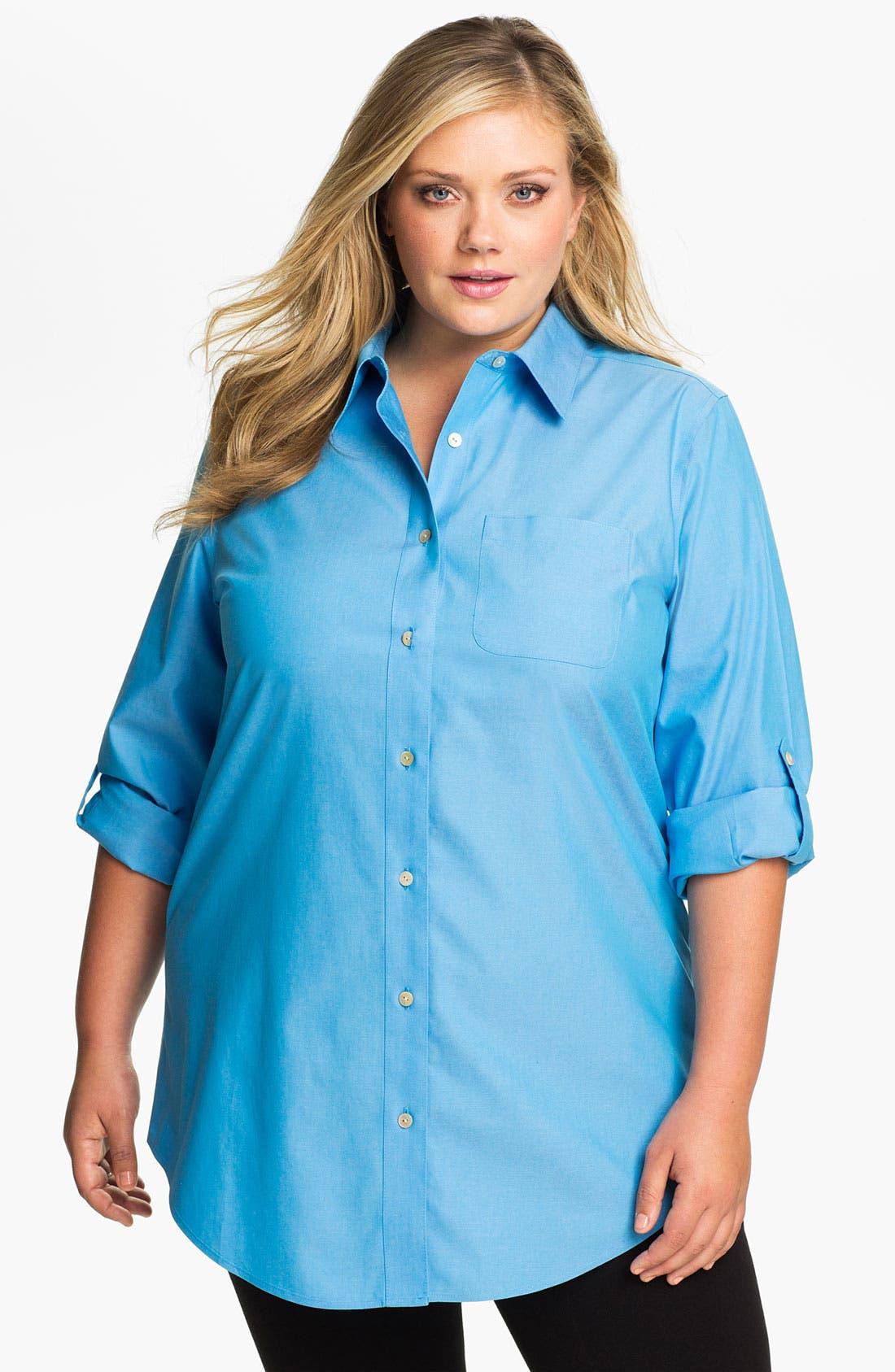 Main Image - Foxcroft Shaped Tunic (Plus Size)