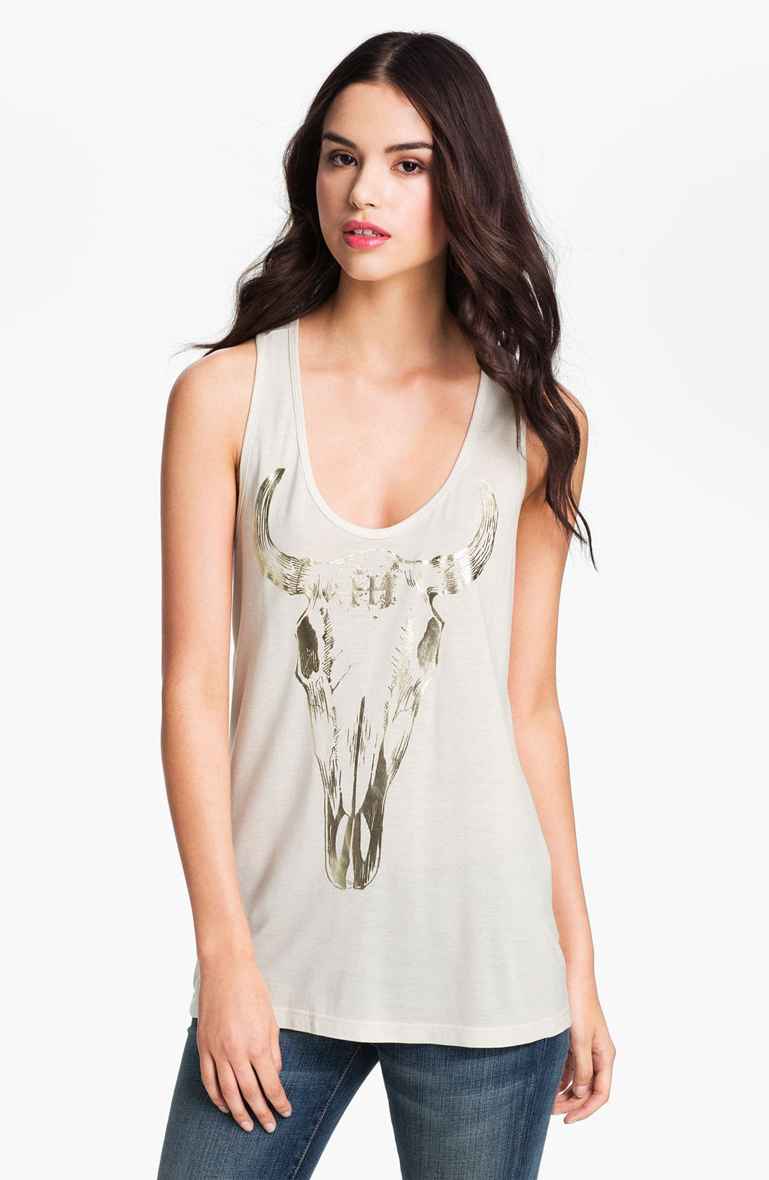 Alternate Image 1 Selected - Haute Hippie 'Long Horn' Metallic Graphic Tank