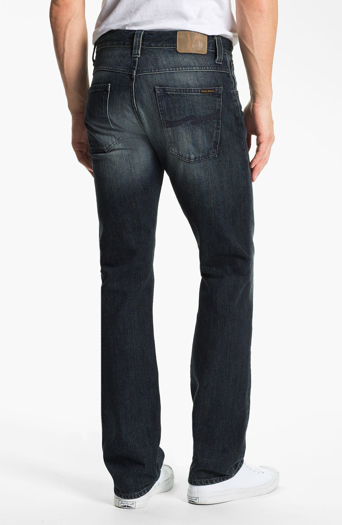 Alternate Image 1 Selected - Nudie 'Average Joe' Straight Leg Jeans (Organic Black and Blue)