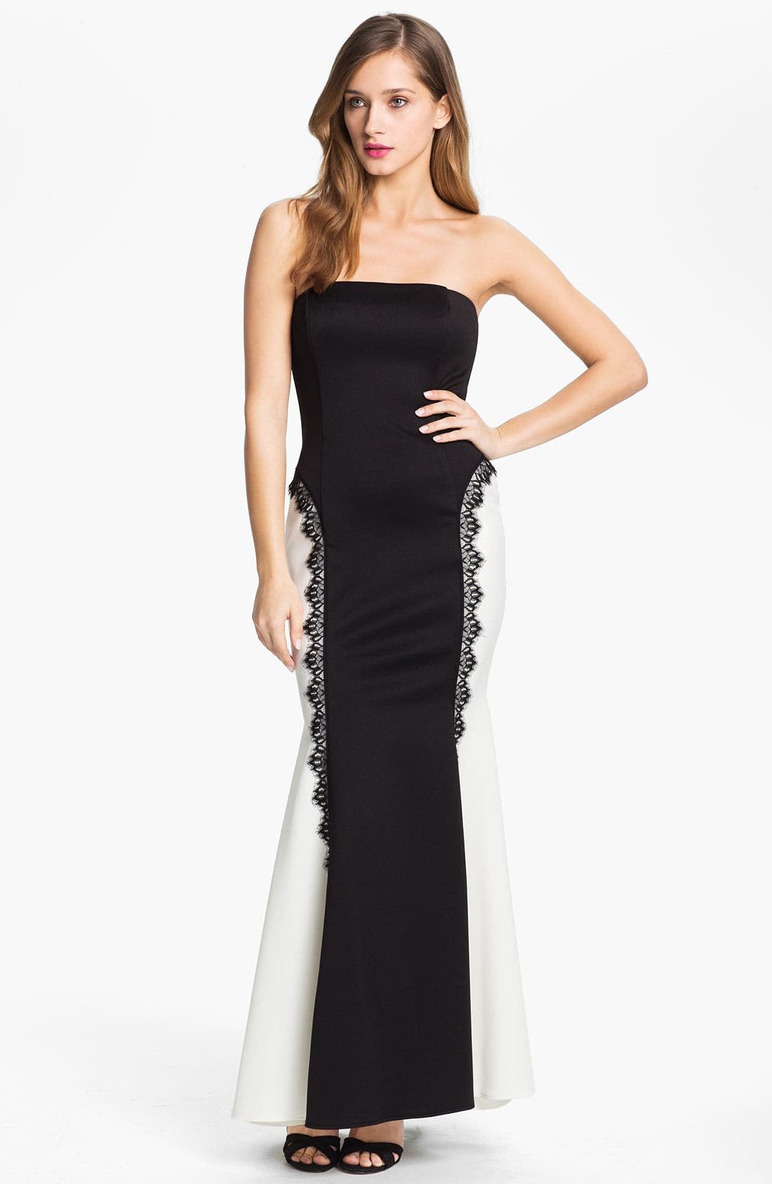 Alternate Image 1 Selected - Jessica McClintock Strapless Satin Trumpet Gown