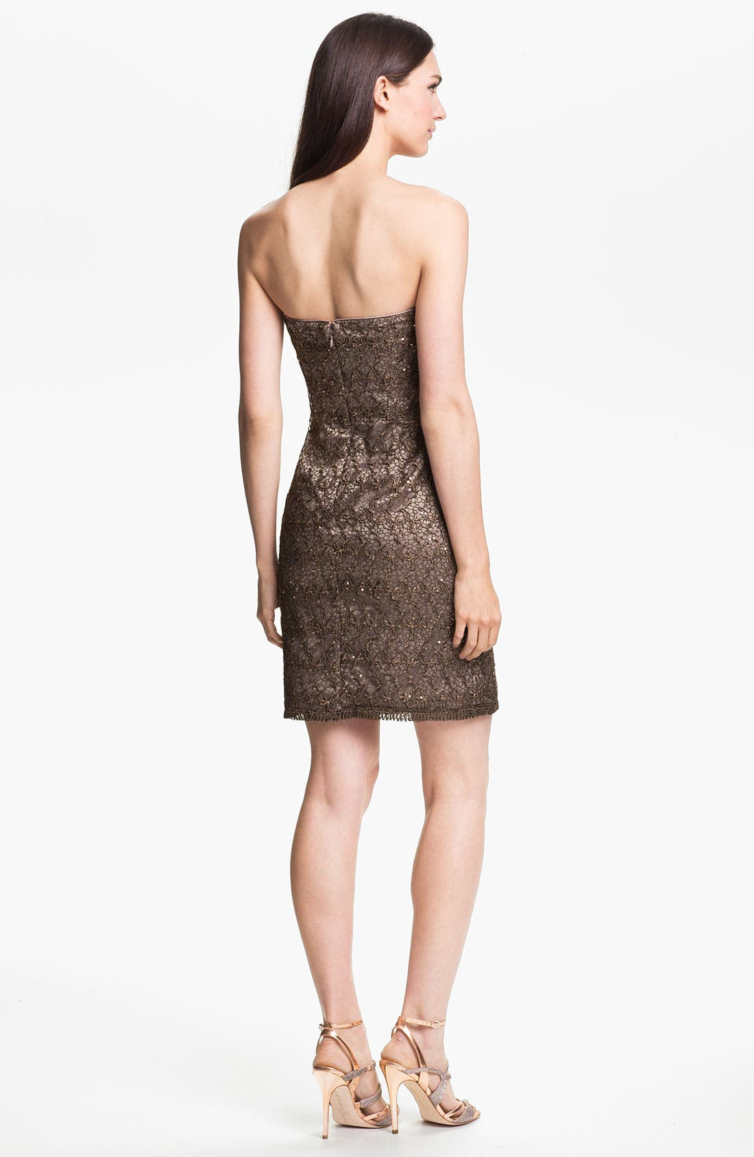 Alternate Image 2  - Adrianna Papell Strapless Sequin & Lace Sheath Dress