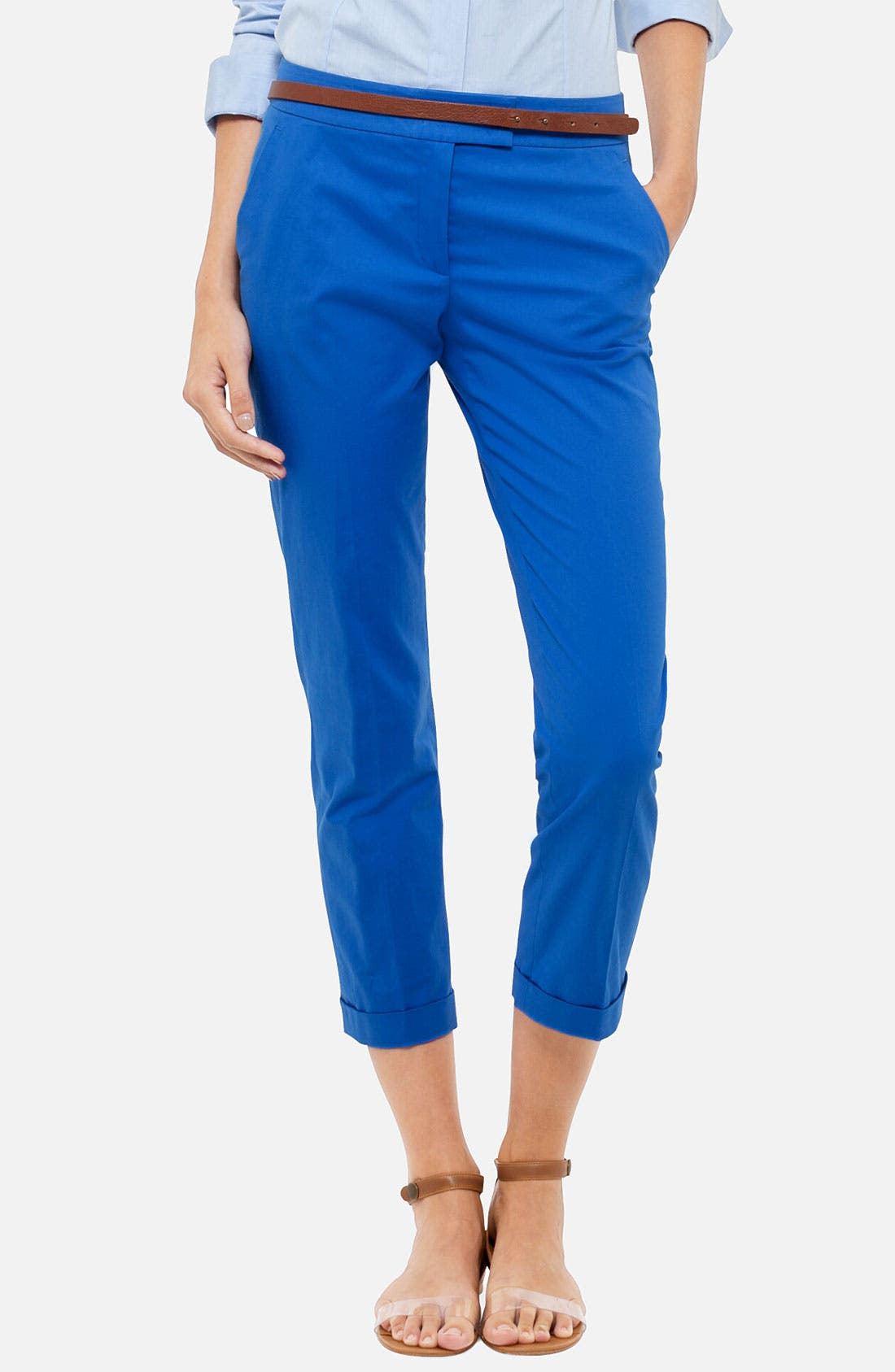 Alternate Image 1 Selected - Akris punto 'Frankie' Stretch Cotton Crop Pants