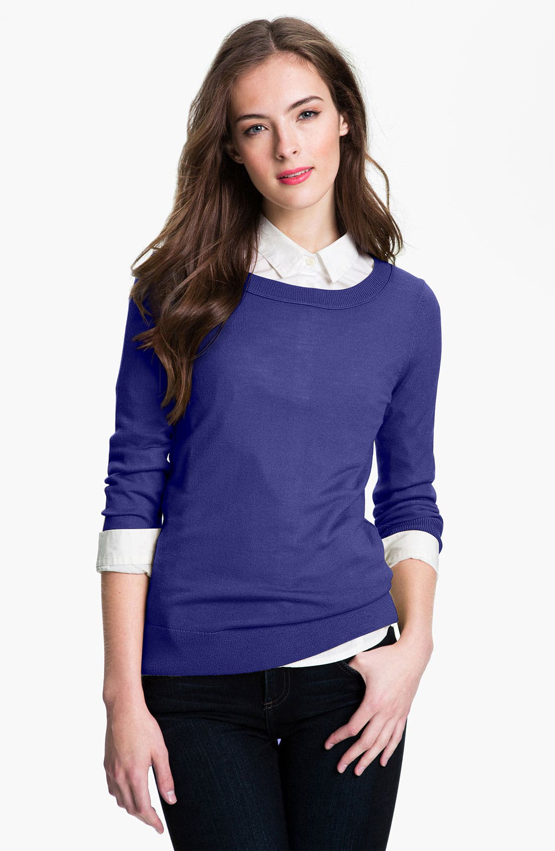 Main Image - Halogen® Merino Crewneck Sweater (Petite)