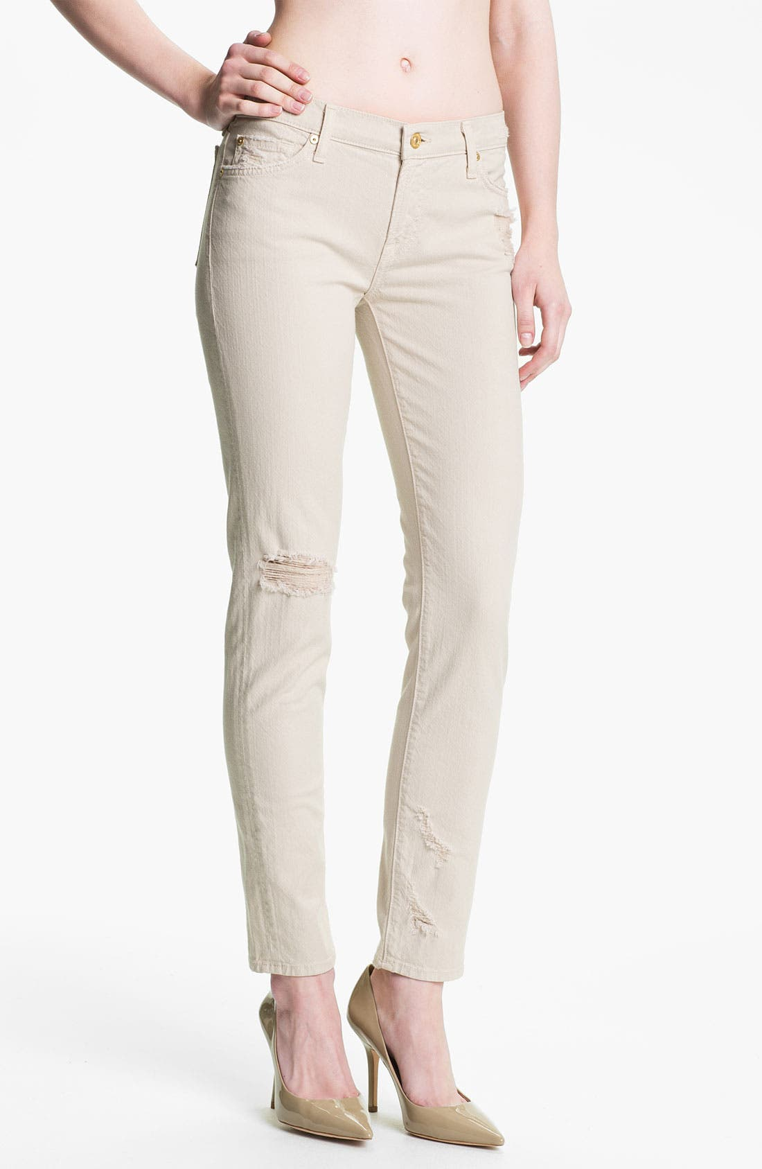 Main Image - 7 For All Mankind® 'The Slim Cigarette' Stretch Jeans (Sand Dune)