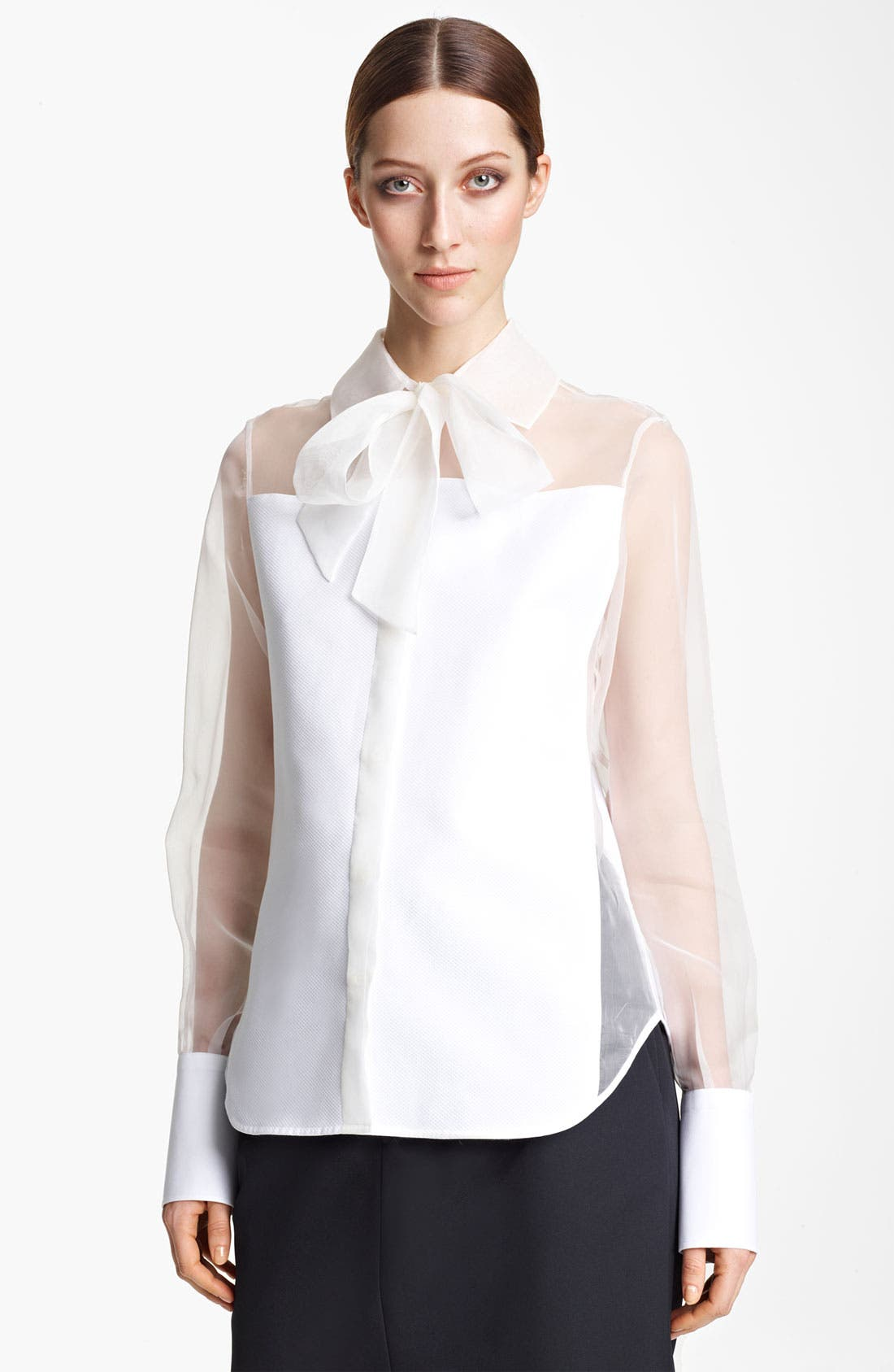 Alternate Image 1 Selected - Valentino Chiffon & Poplin Blouse