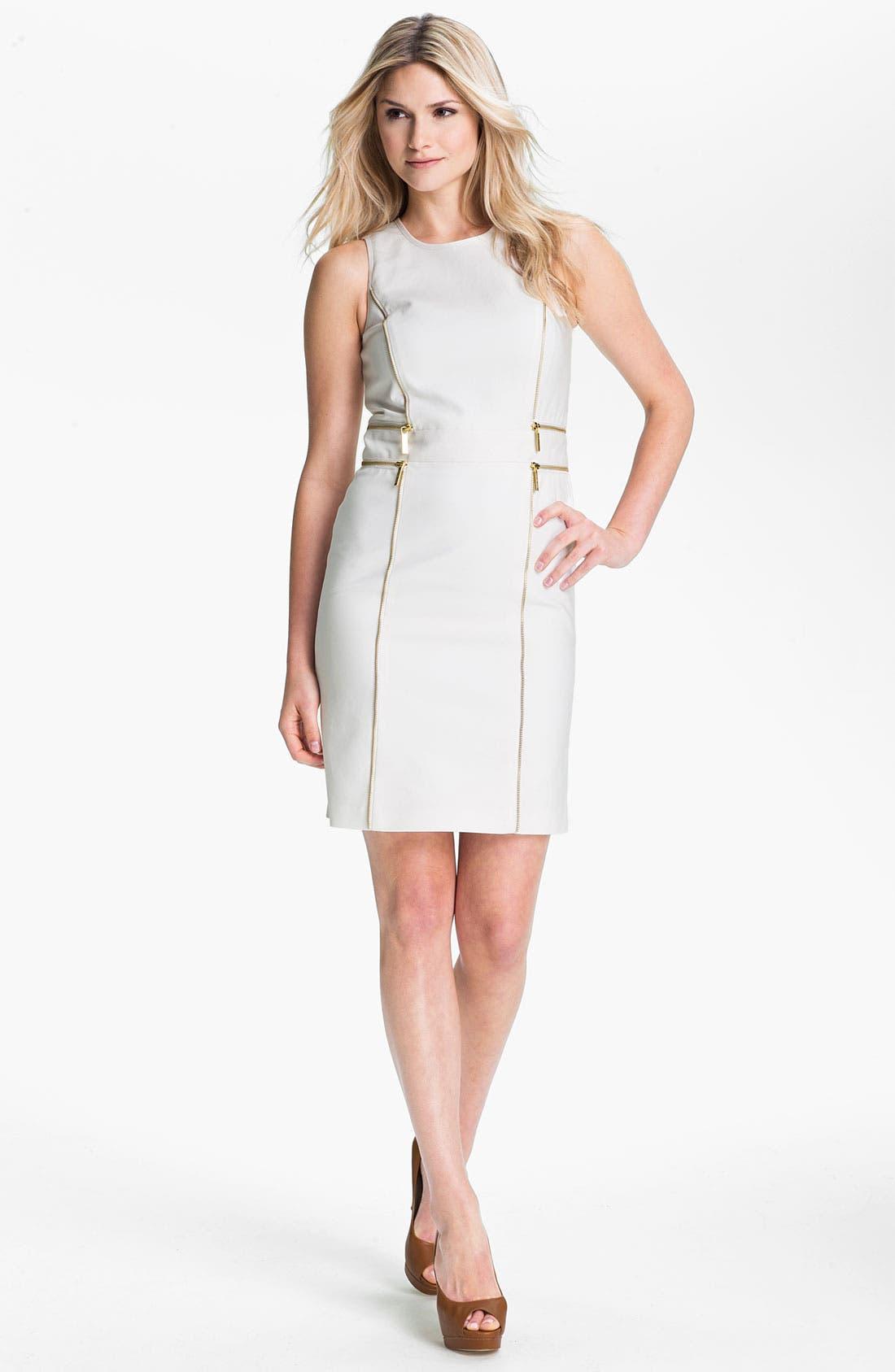 Alternate Image 1 Selected - MICHAEL Michael Kors Zip Trim Sheath Dress