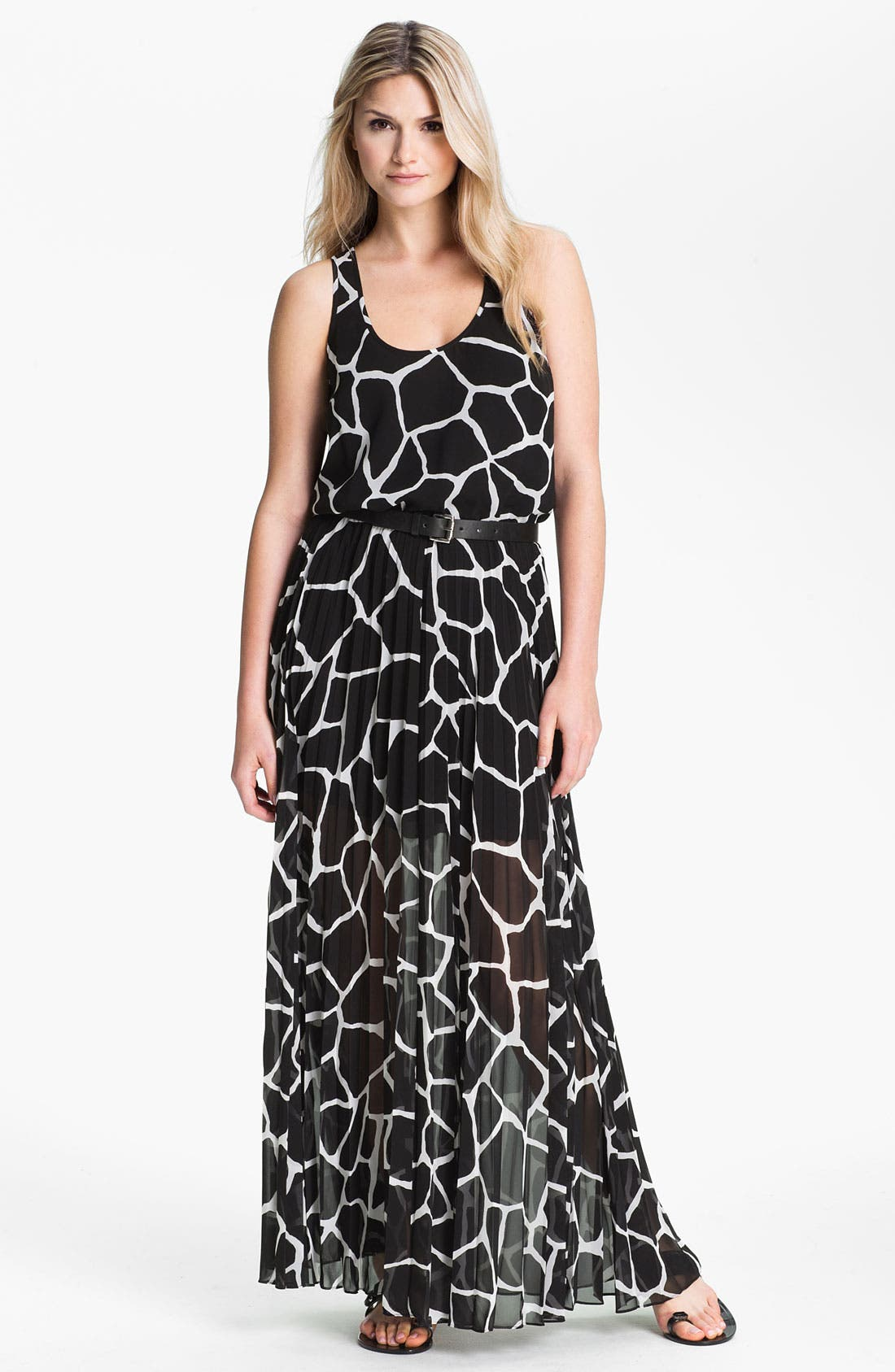 Alternate Image 1 Selected - MICHAEL Michael Kors Pleated Chiffon Maxi Dress