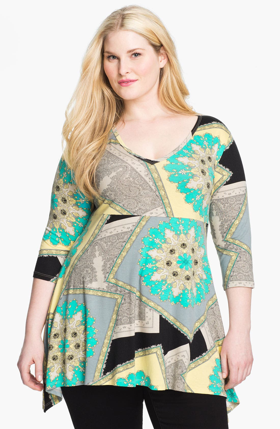 Alternate Image 1 Selected - Karen Kane Handkerchief Tunic (Plus)