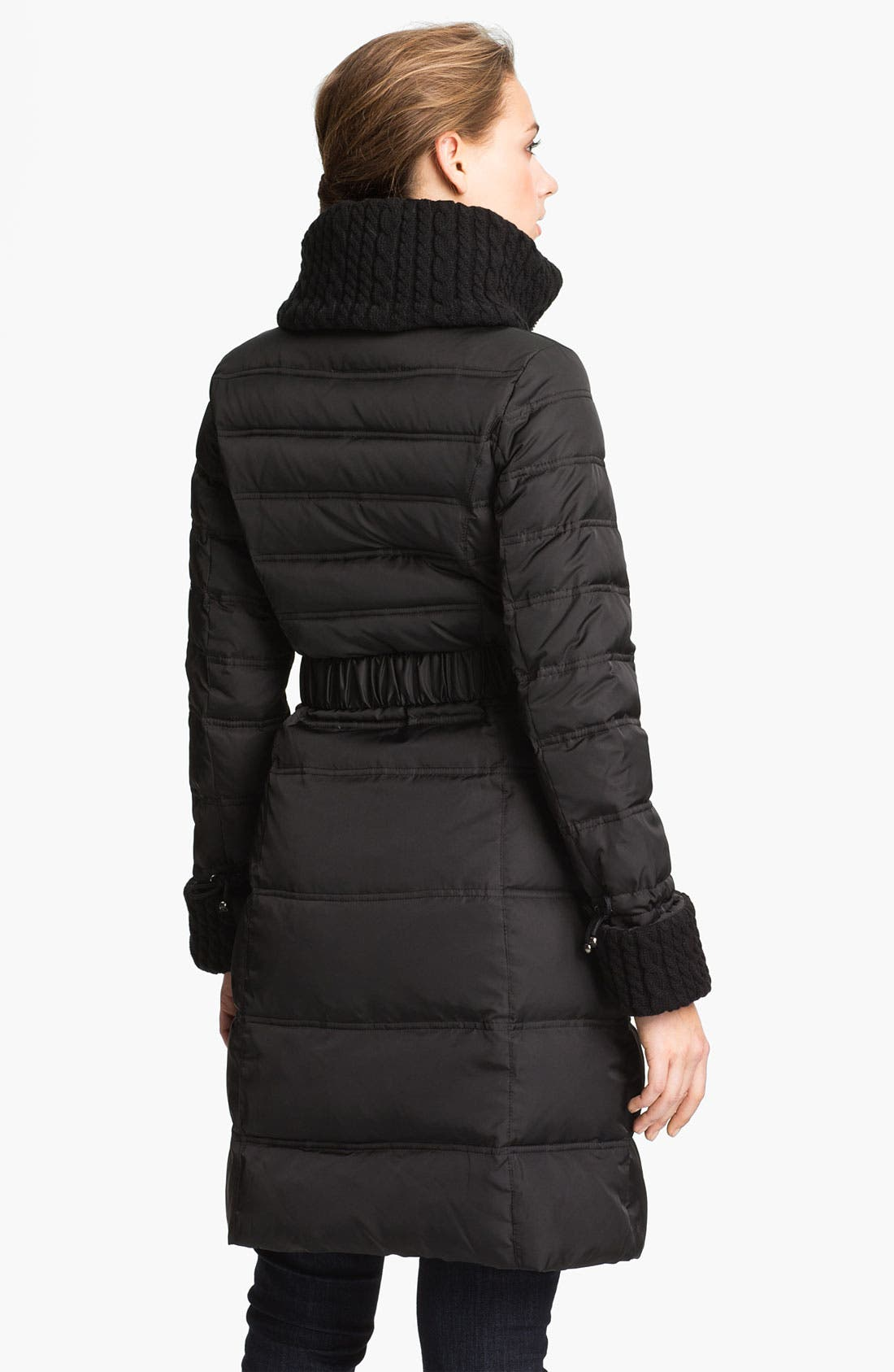 Alternate Image 2  - Laundry by Shelli Segal Knit Trim Quilted Coat