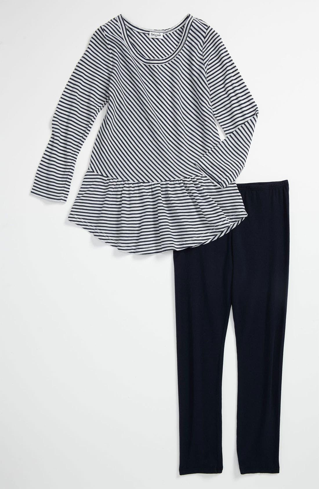 Alternate Image 1 Selected - Splendid 'Naples' Stripe Tunic & Leggings (Little Girls)