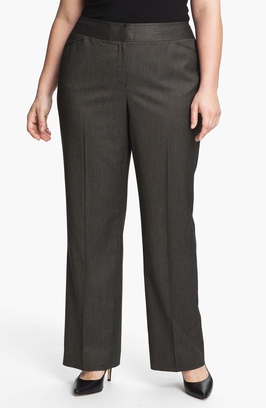 Alternate Image 1 Selected - Sejour 'Bureau' Curvy Fit Trousers (Plus)