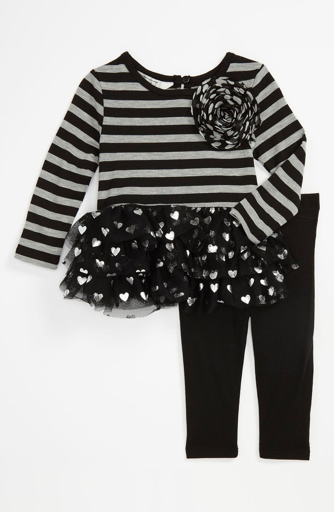 Alternate Image 1 Selected - Pippa & Julie Stripe Top & Leggings (Infant)