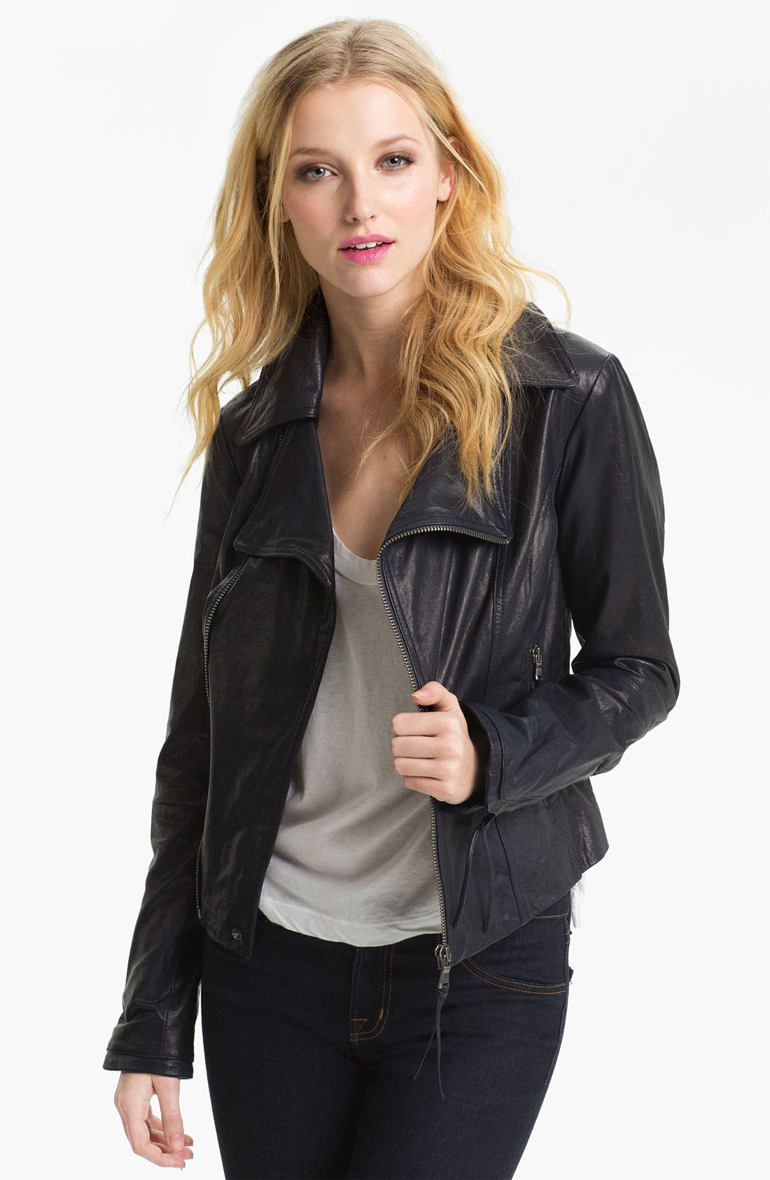 Alternate Image 1 Selected - June Leather Biker Jacket